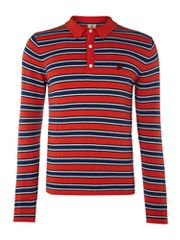 Lyle and Scott Striped rugby neck jumper
