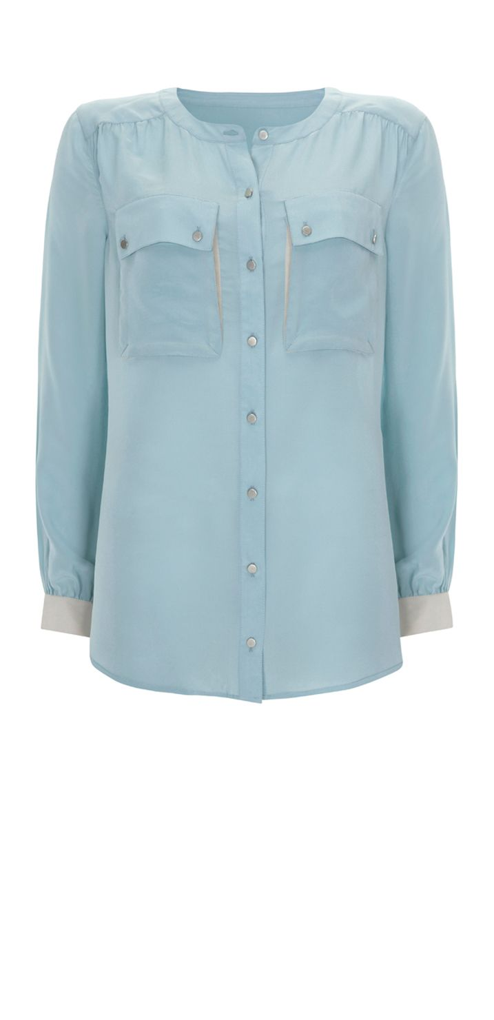Mint Velvet Womens Mint Velvet Aqua collarless blouse, product image