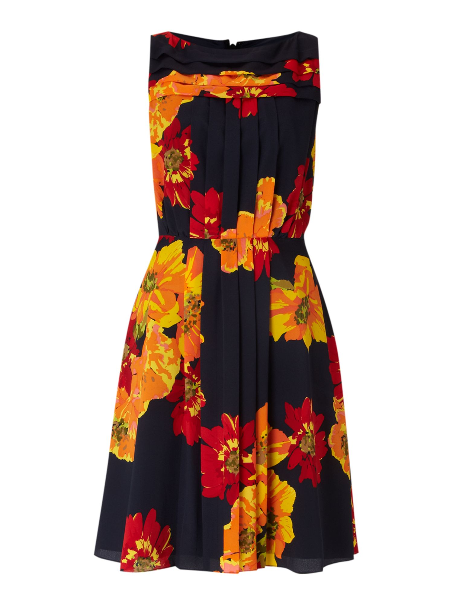 Floral print pleat panel dress
