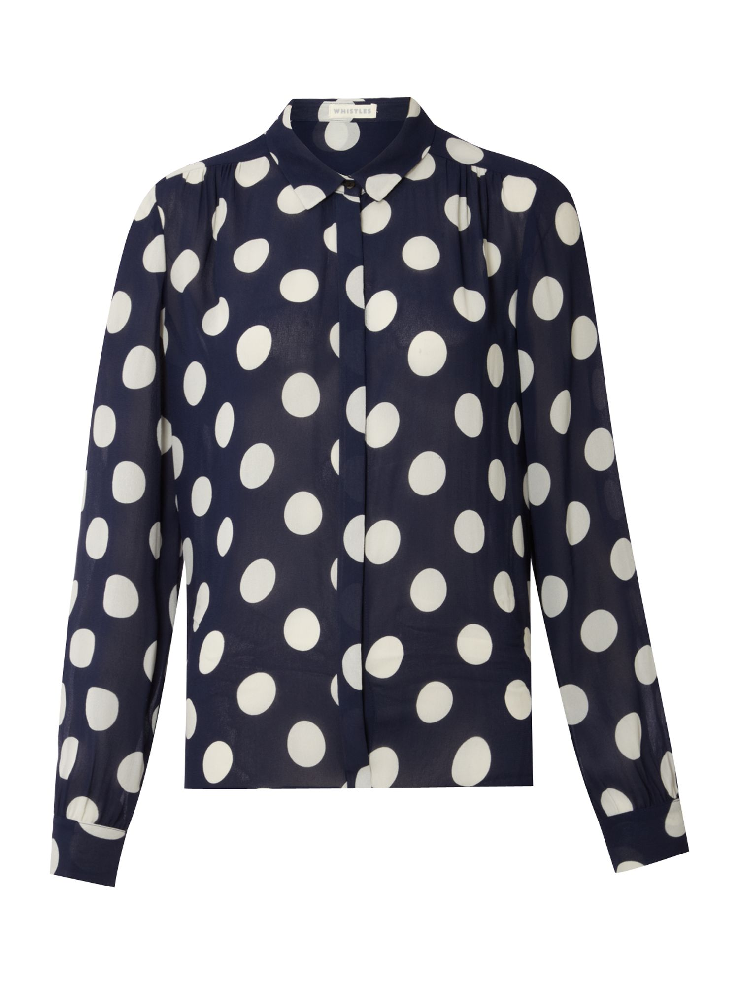 Whistles Womens Whistles Big spot blouse, Navy product image
