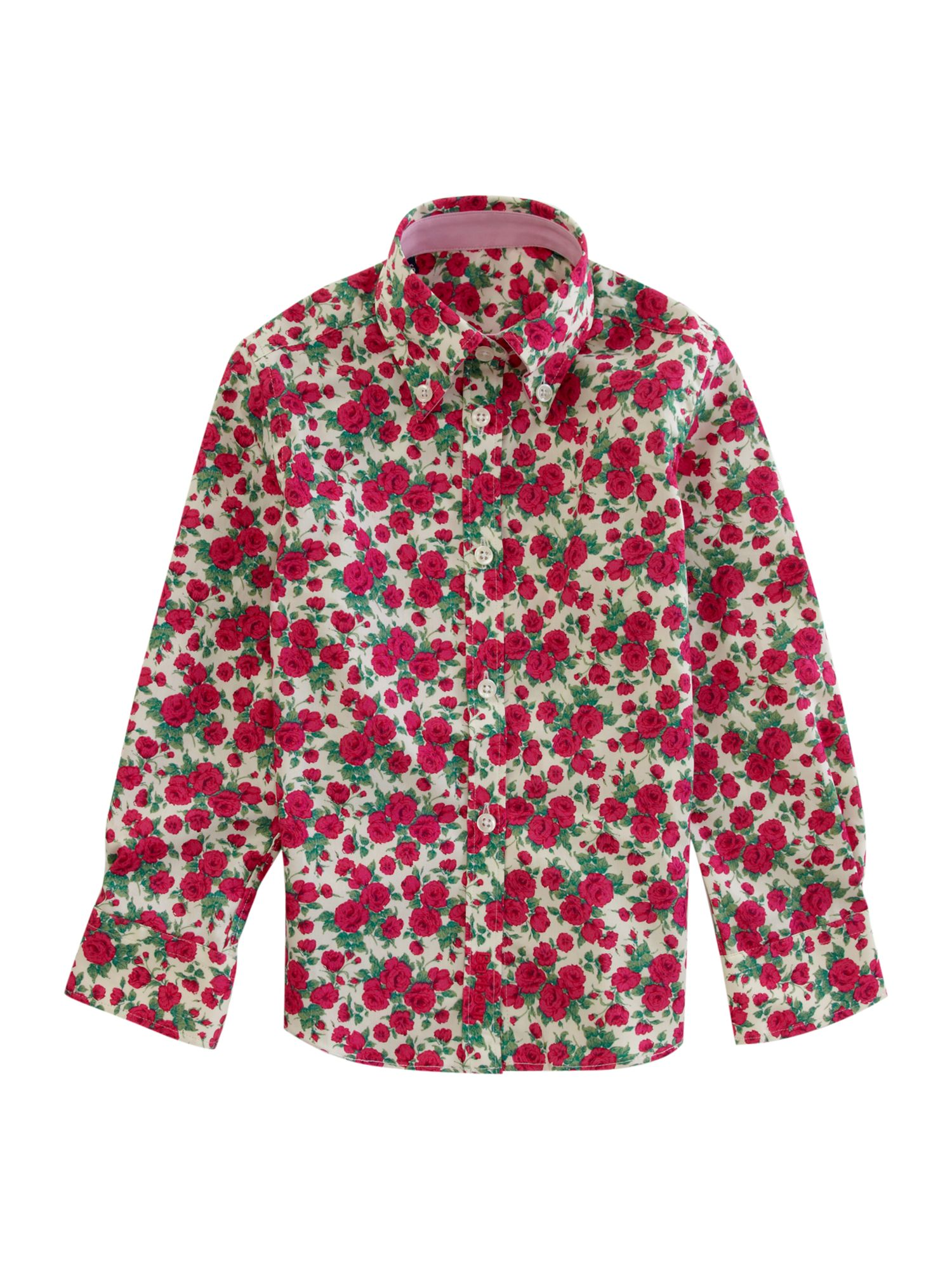 Long-sleeved rose print shirt