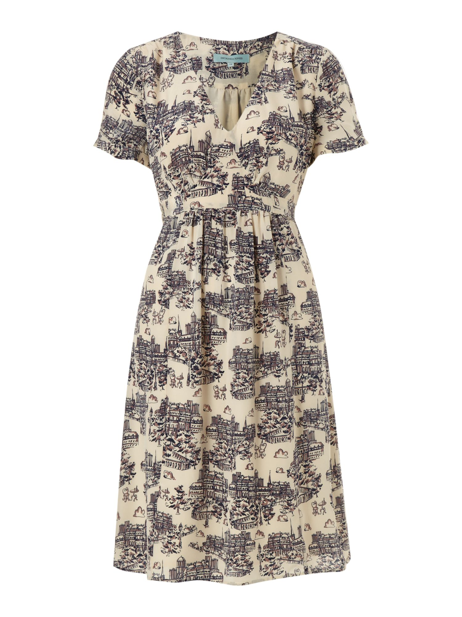 Ladies printed silk dress