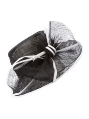 Linea Big bow hat with feathers & grosgrain trim