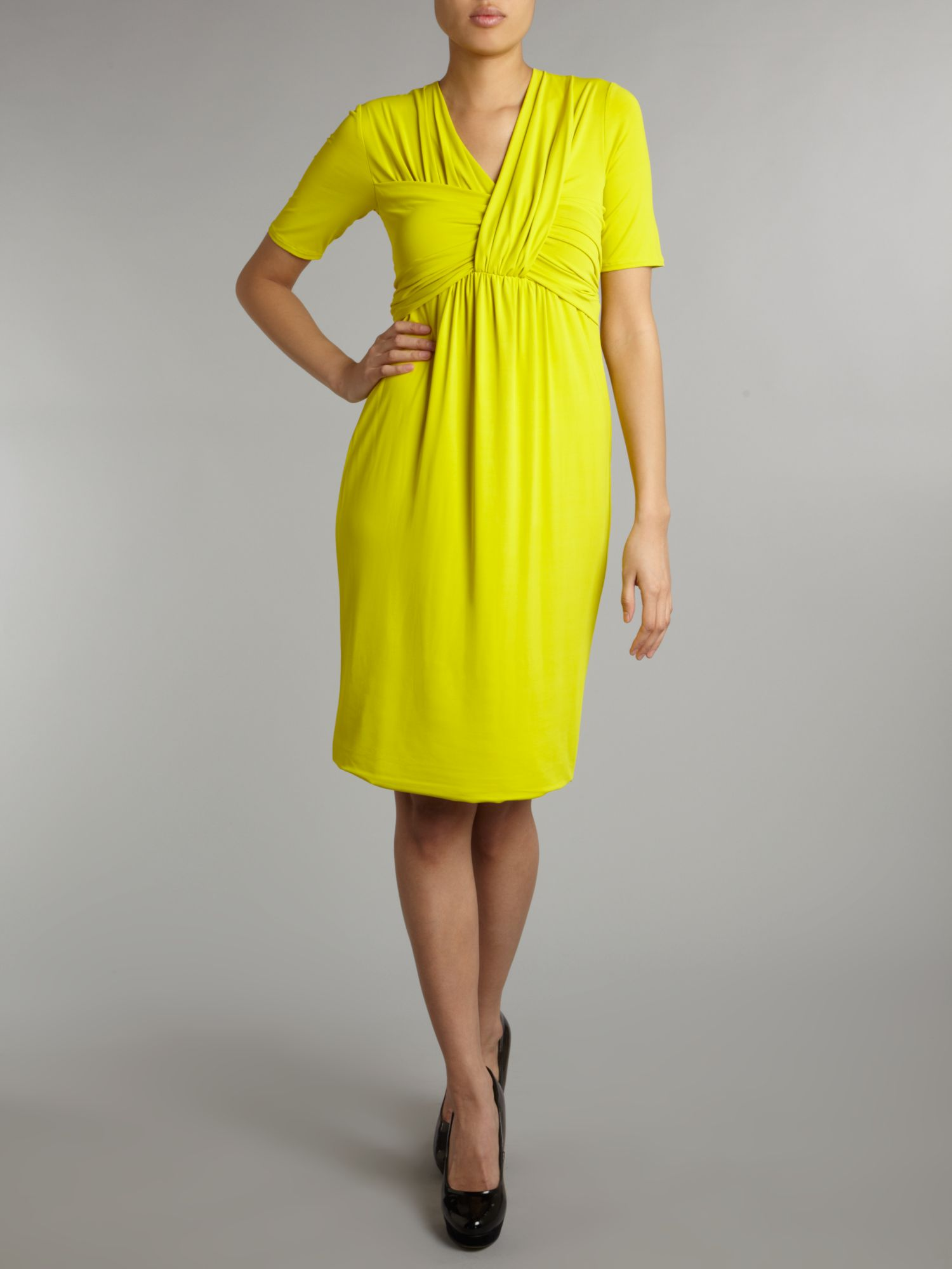 Osvaldo bright jersey dress with rouched front