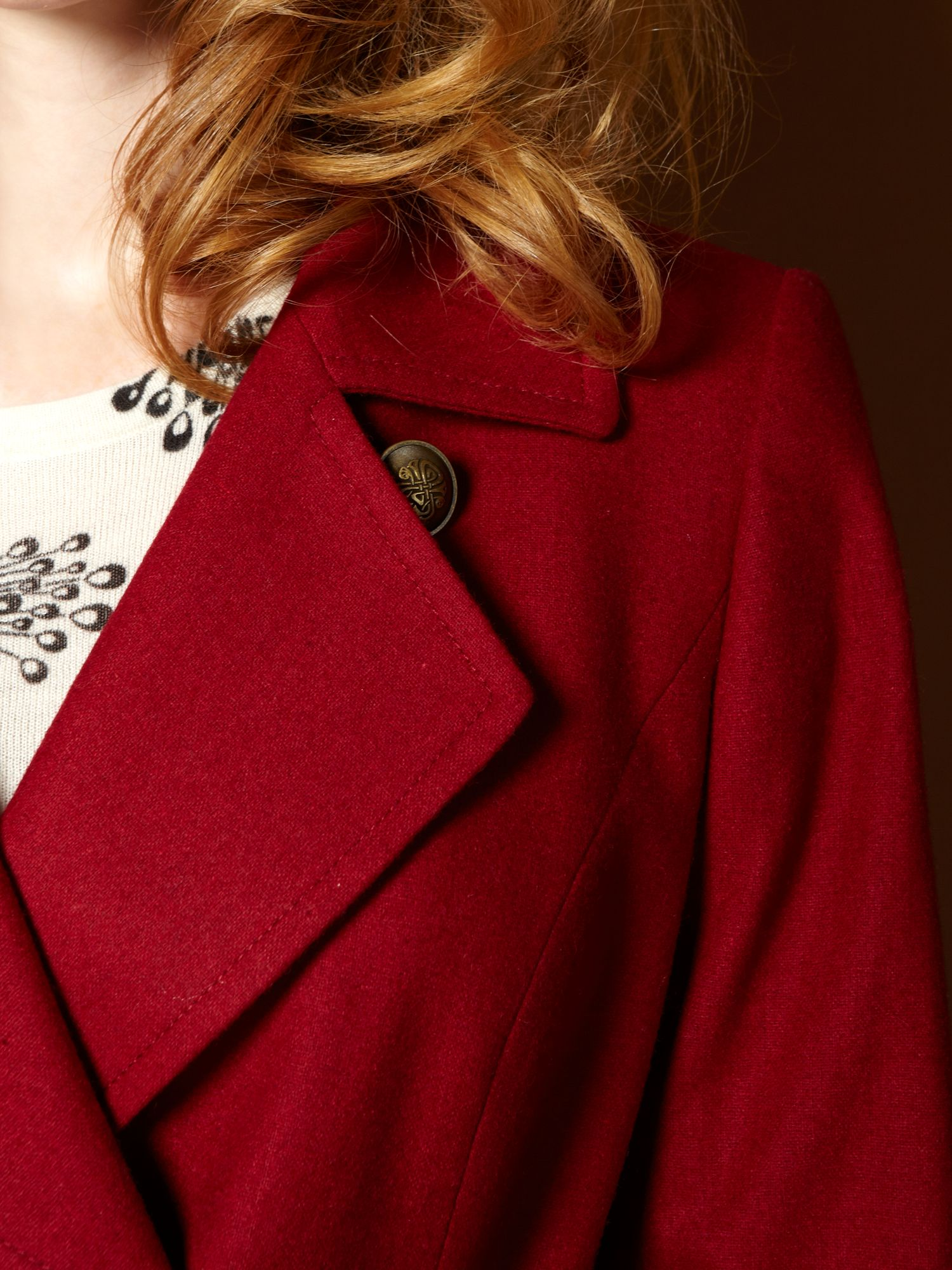 Biba button detail belted coat