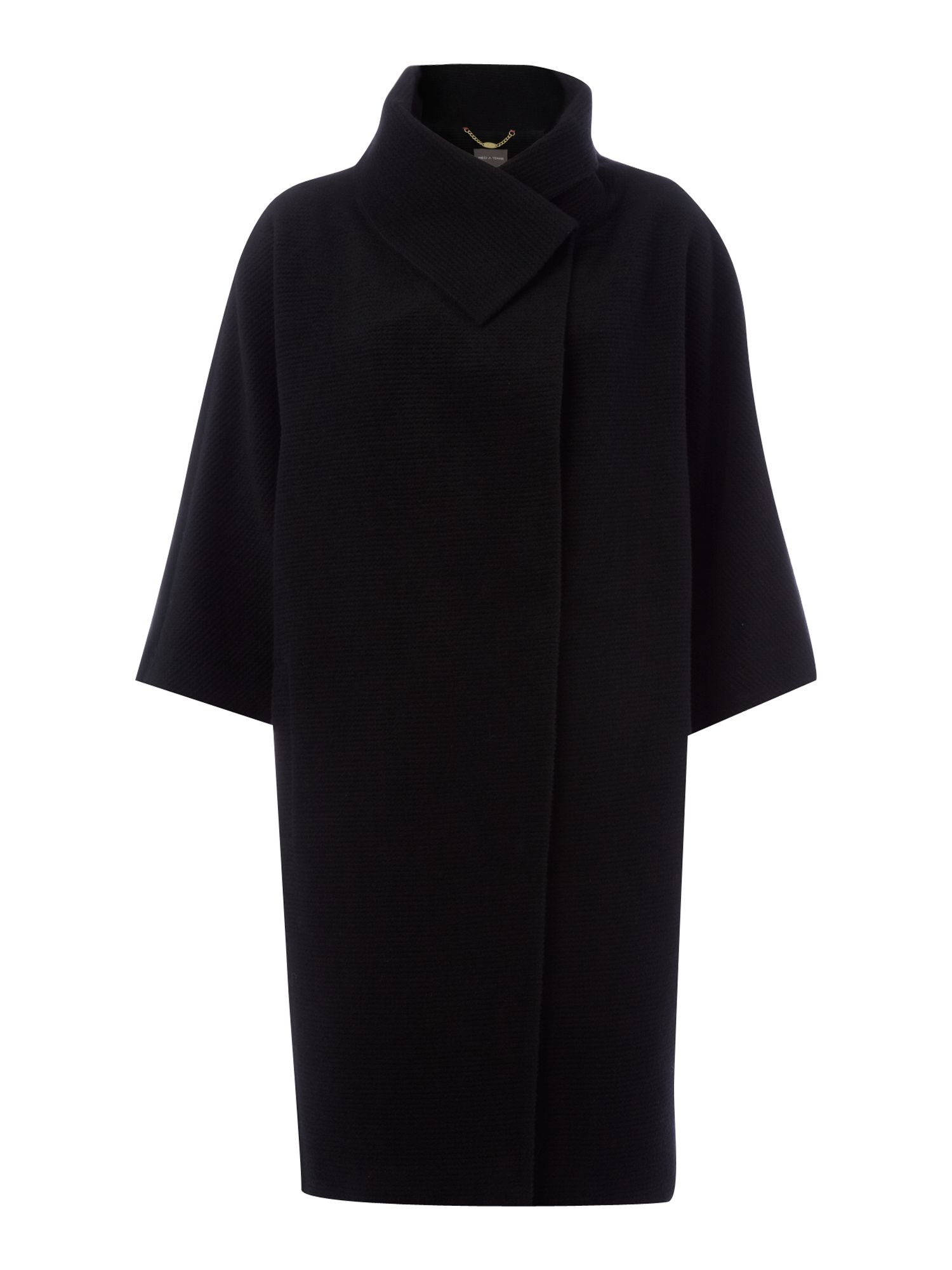 Slim funnel neck cocoon coat