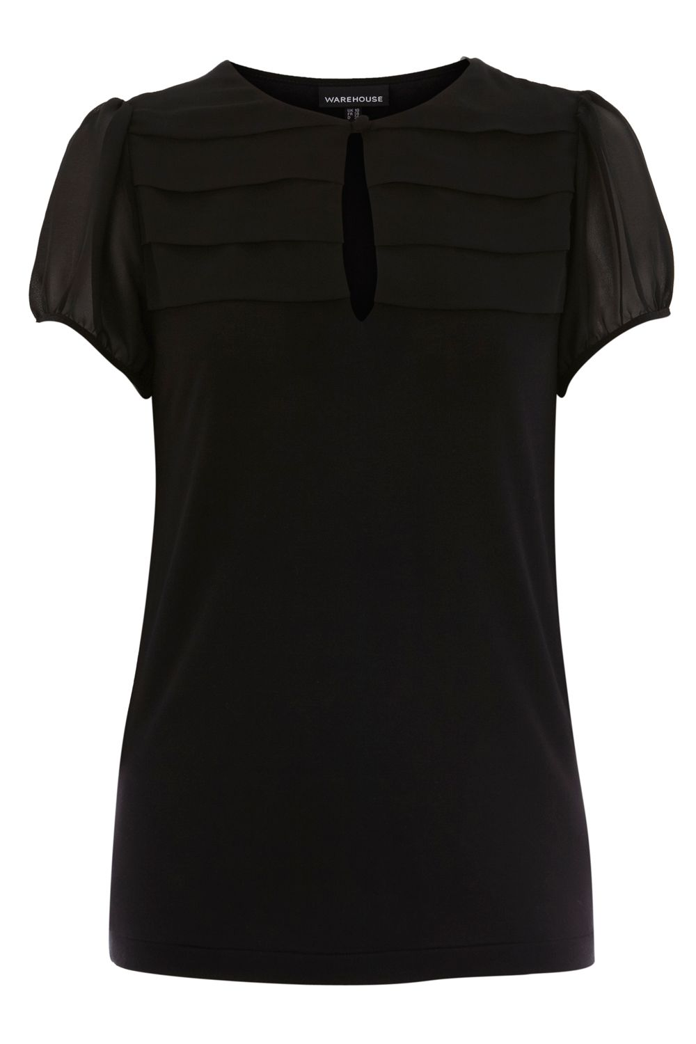 Warehouse Womens Warehouse Pleat yoke blouse, Black product image