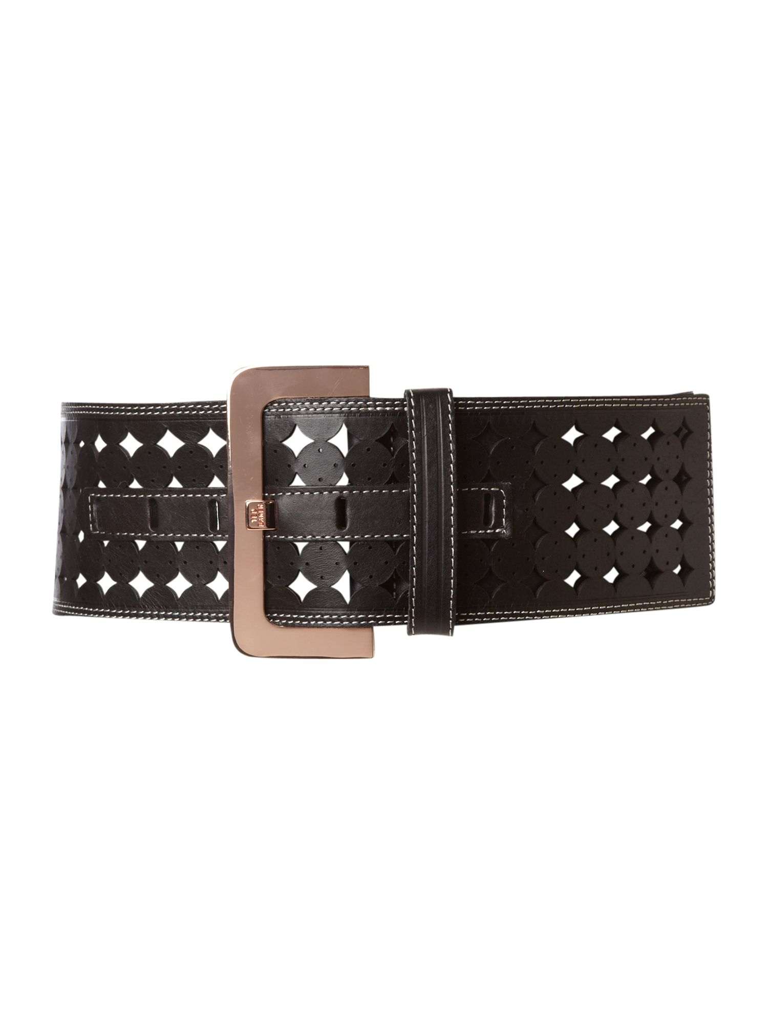 Black wide cut out waist belt