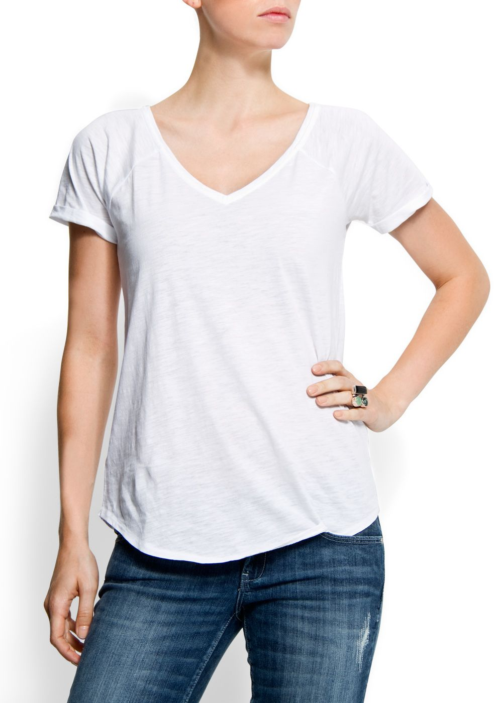 Mango Womens Mango Cotton v-neck t-shirt, White product image