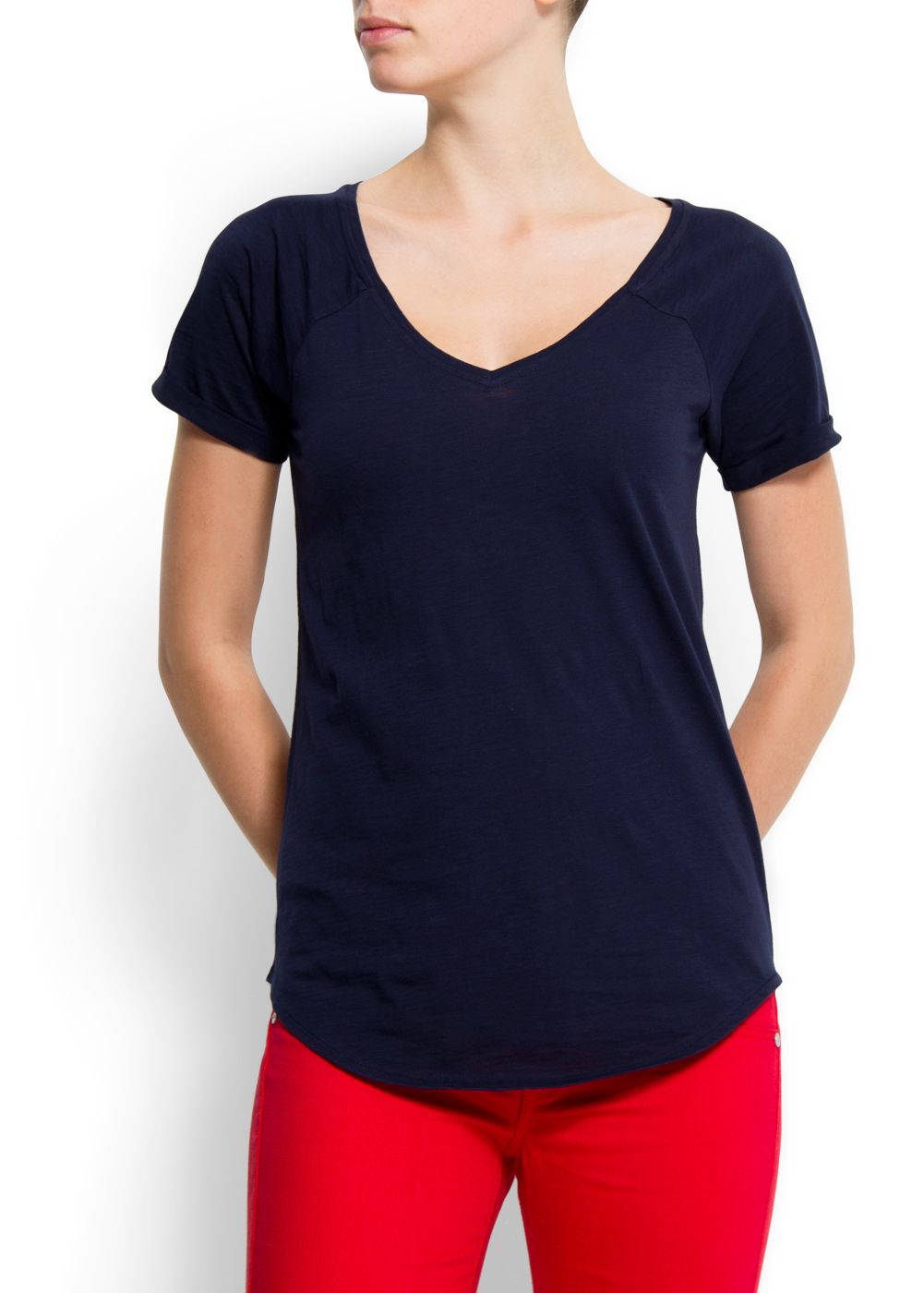 Mango Womens Mango Cotton v-neck t-shirt, Navy product image