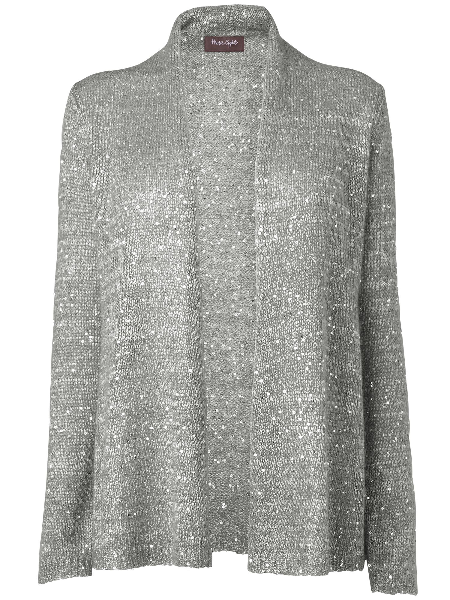 Roll edge sequin cardigan