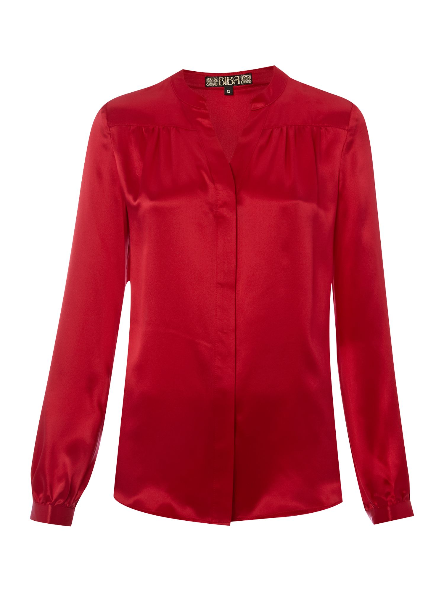 Womens Biba Silk peasant blouse, Cherry