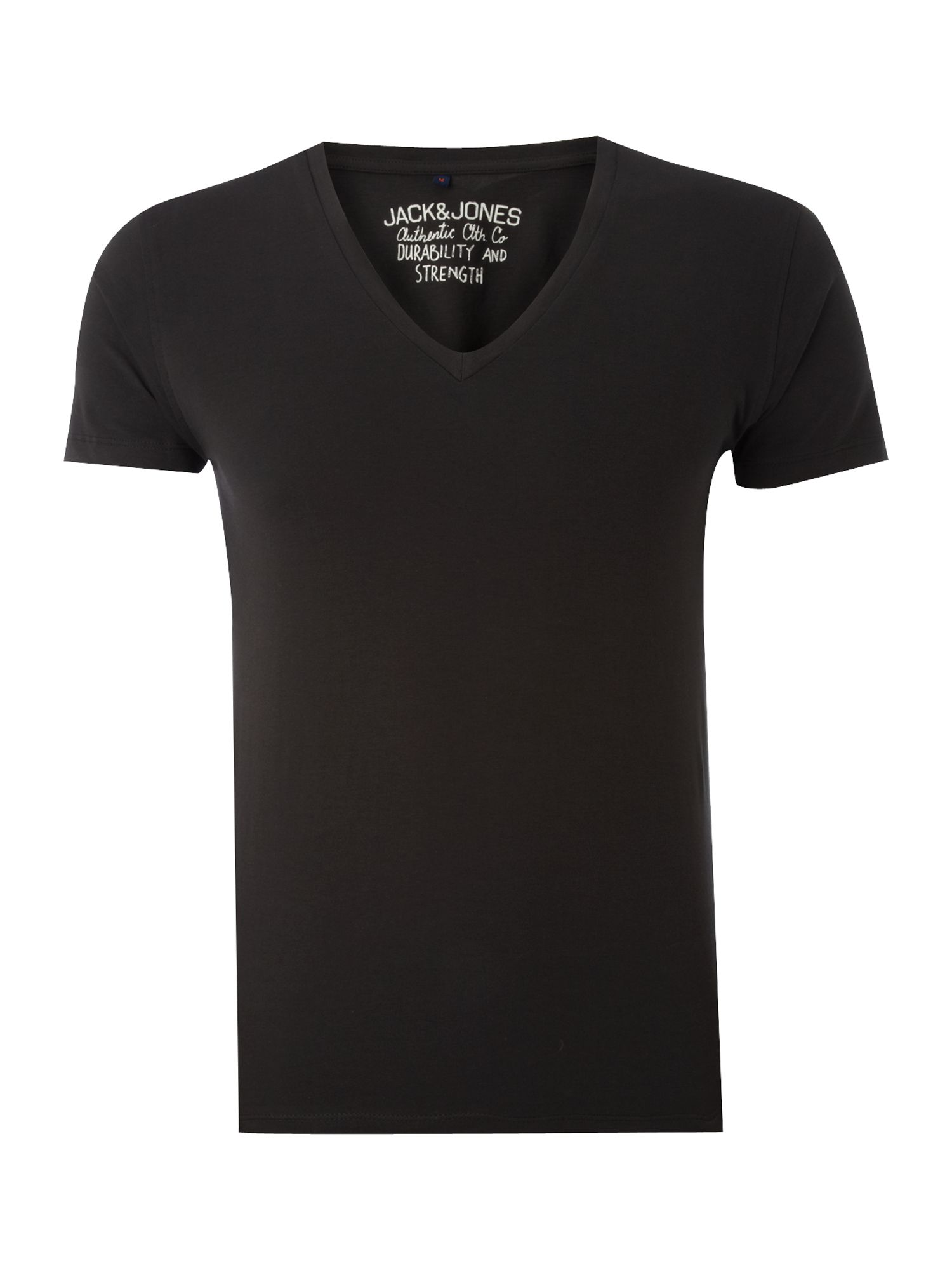 Short-sleeved plain v-neck t-shirt