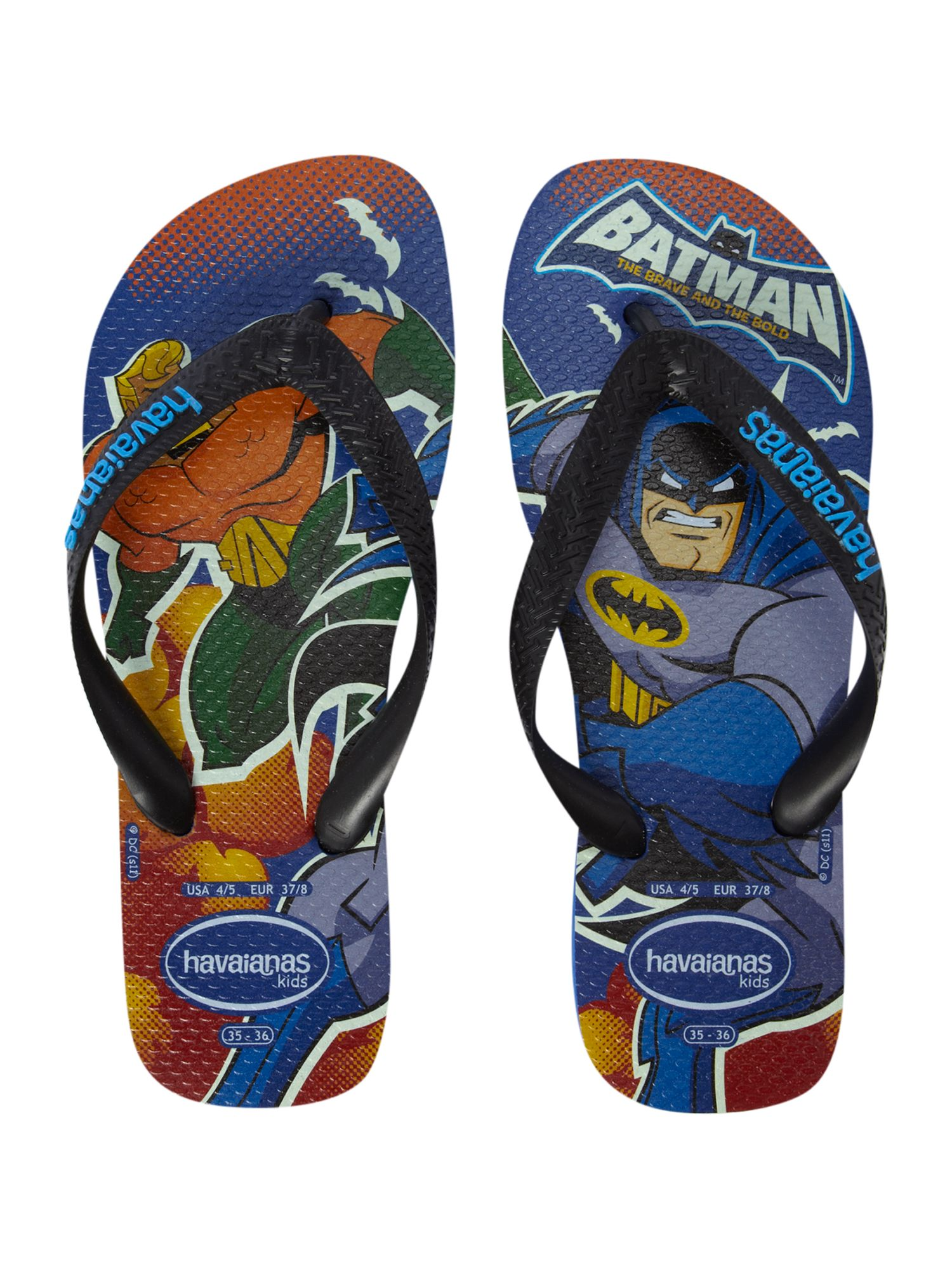 Kids superhero flip flops