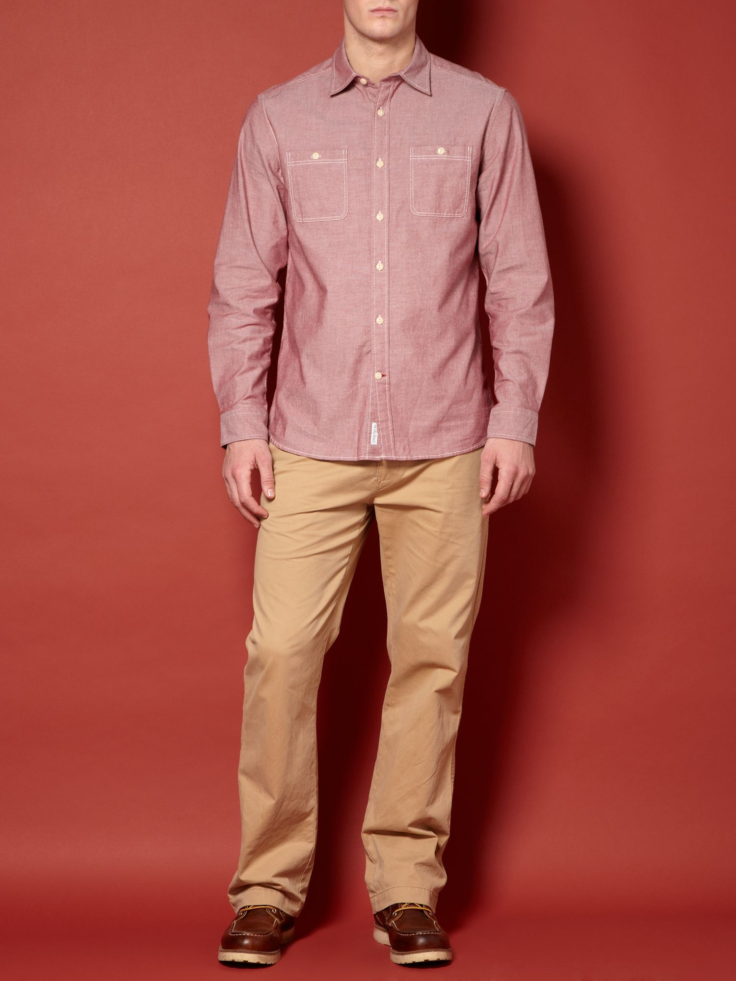 Englewood red chambray long sleeve shirt