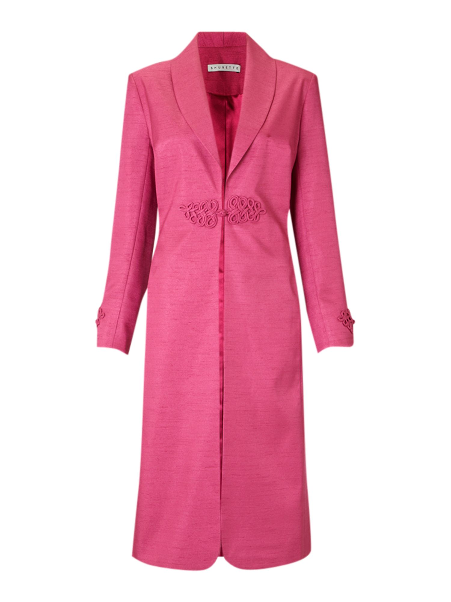 Shantung long line coat with frog fastening