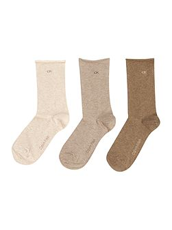 3 Pair pack roll top socks