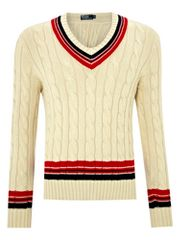 Polo Ralph Lauren V-neck cable knitted cricket jumper