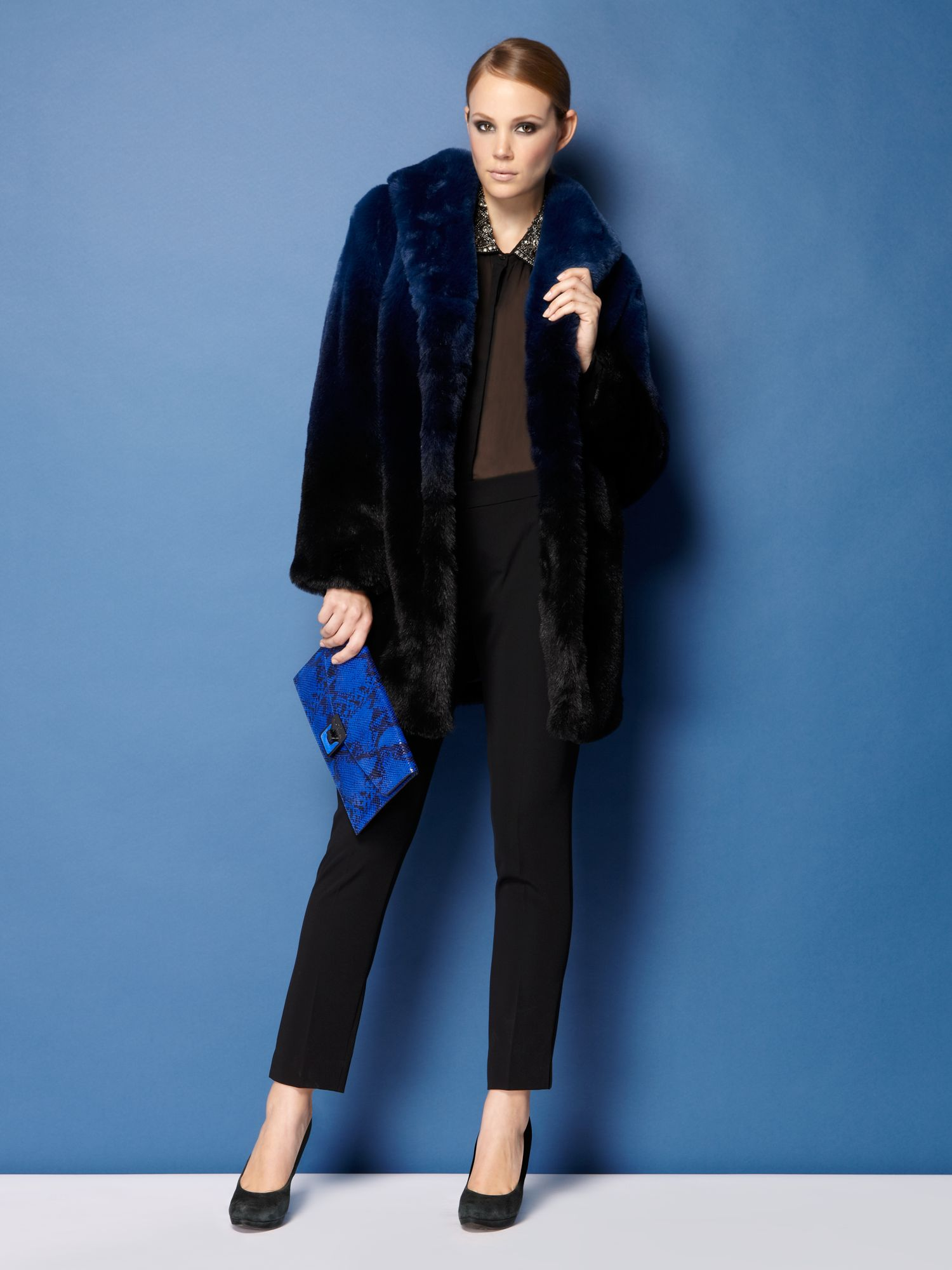 Dip dye faux fur coat