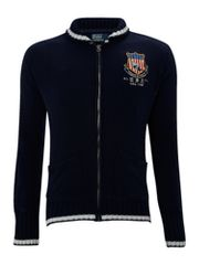 Polo Ralph Lauren Zip through sweater with knitted collar and cuffs