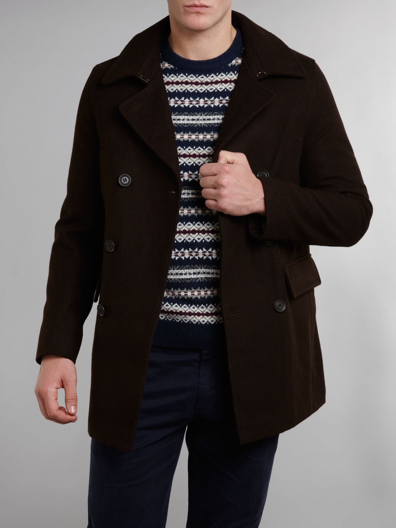 Double breasted utility wool coat
