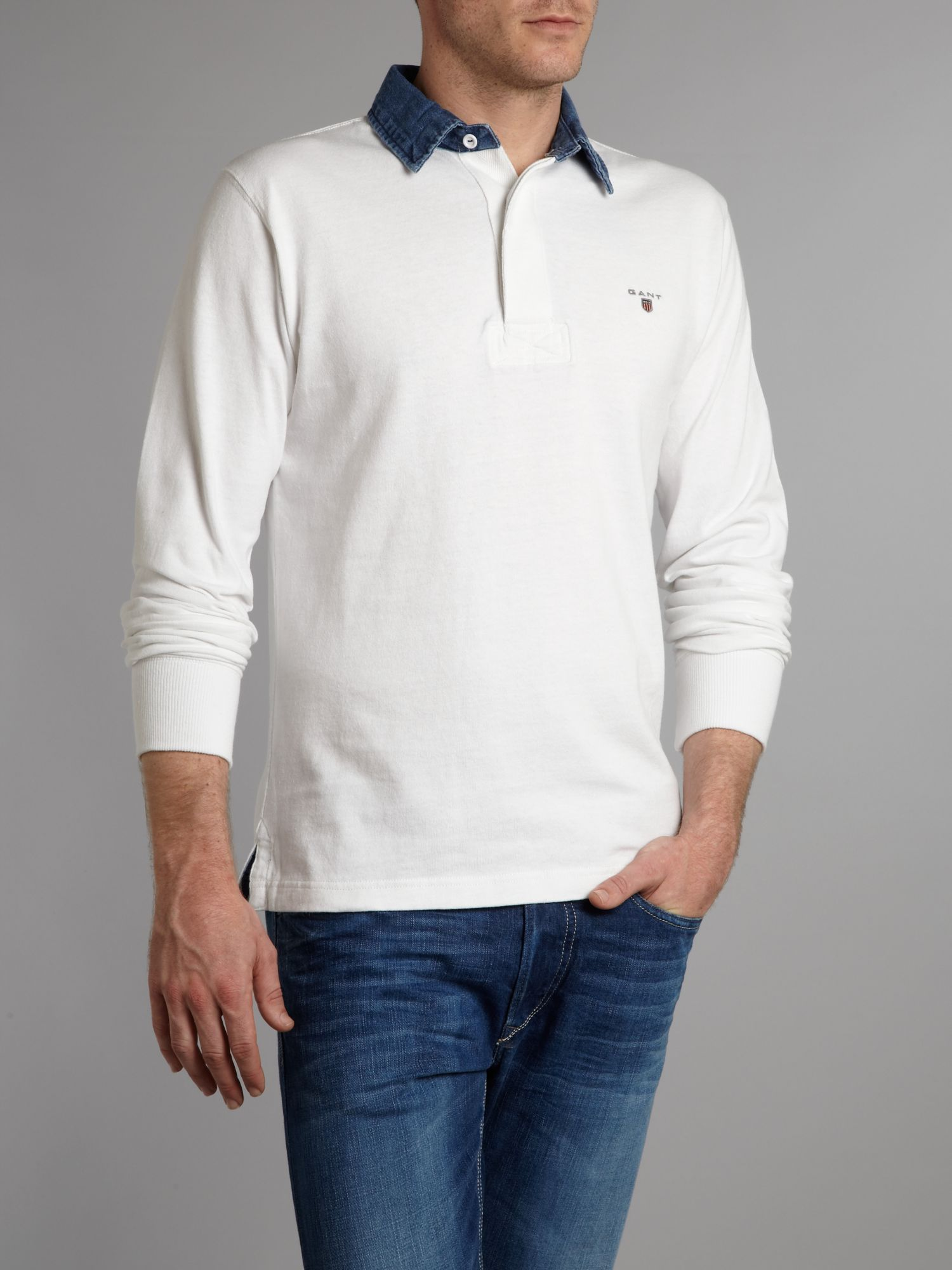 Regular fit chambray collar rugby shirt