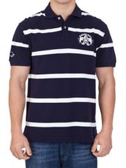 Raging Bull Navy/off white stripe polo