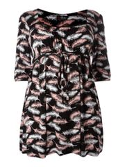 Lovedrobe Feather print 3/4 sleeve tunic
