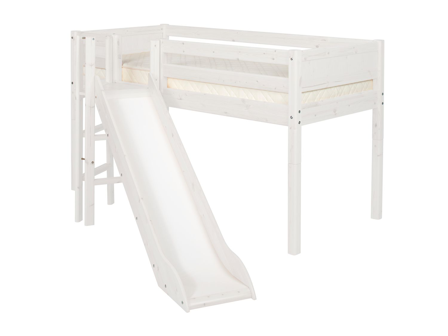 Single mid-height bed with tower & slide