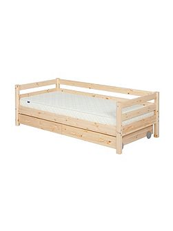 Single bed with safety rail and drawers