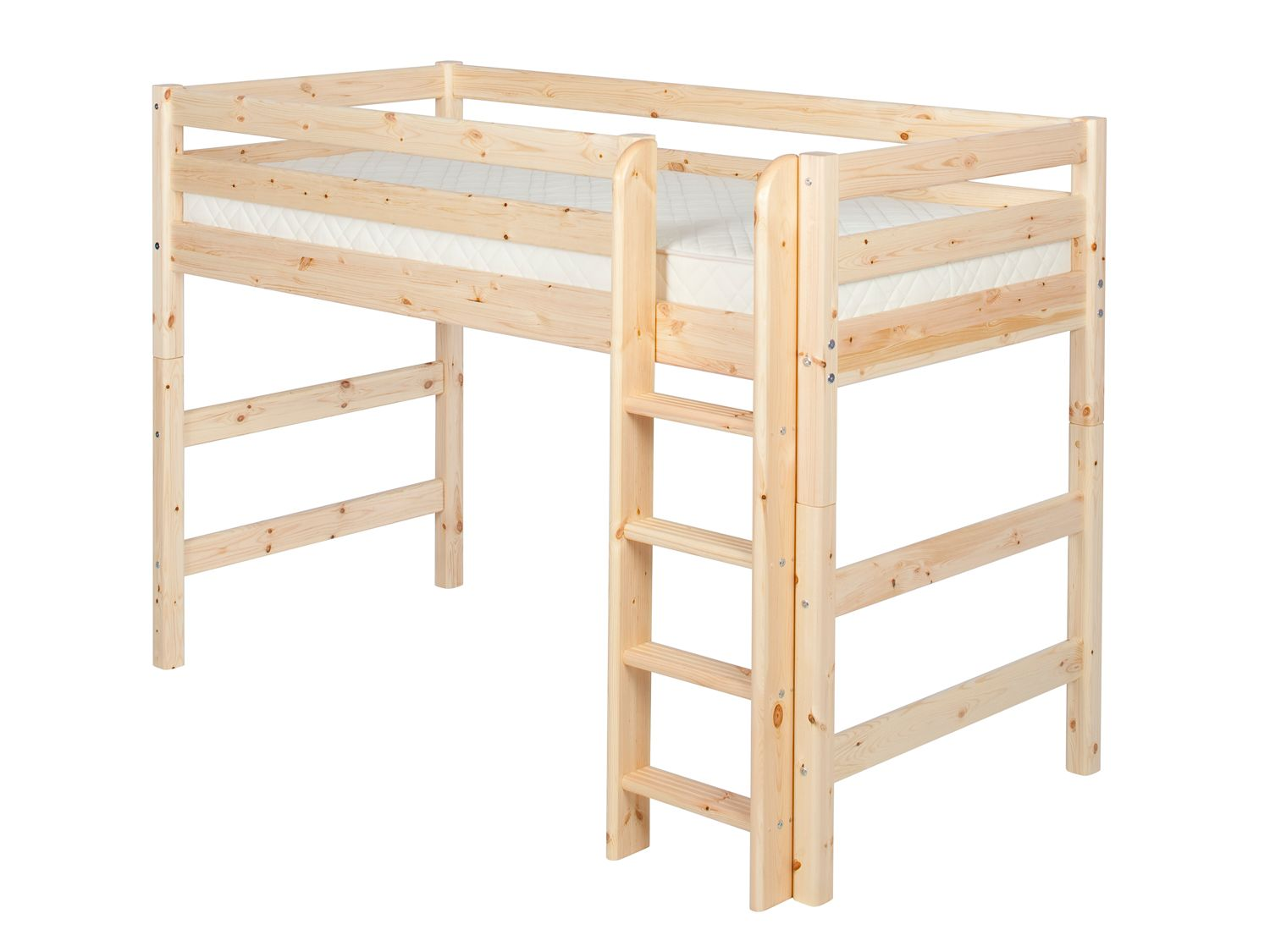 Single semi-high bed with straight ladder