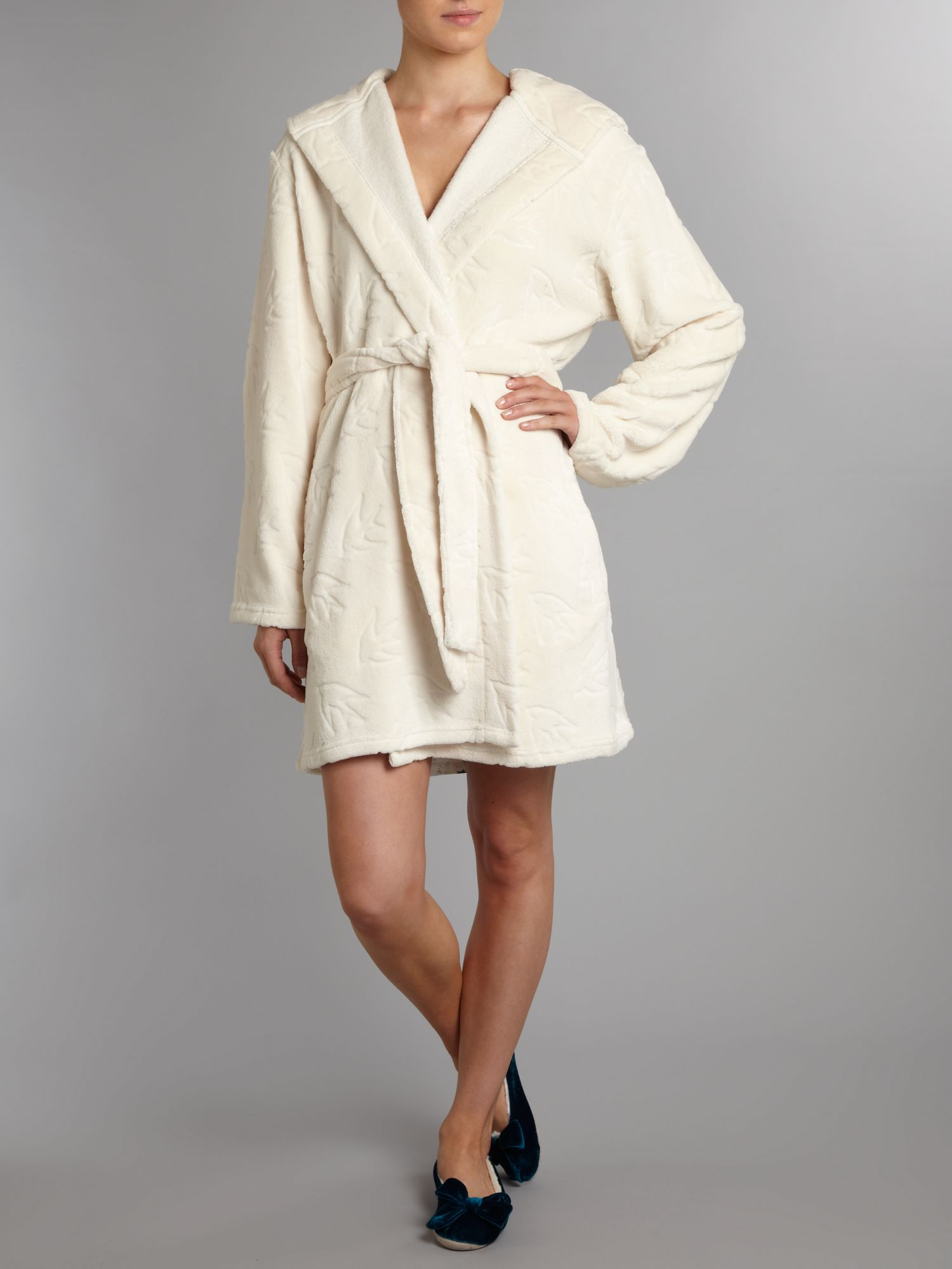 Swallow print embossed robe