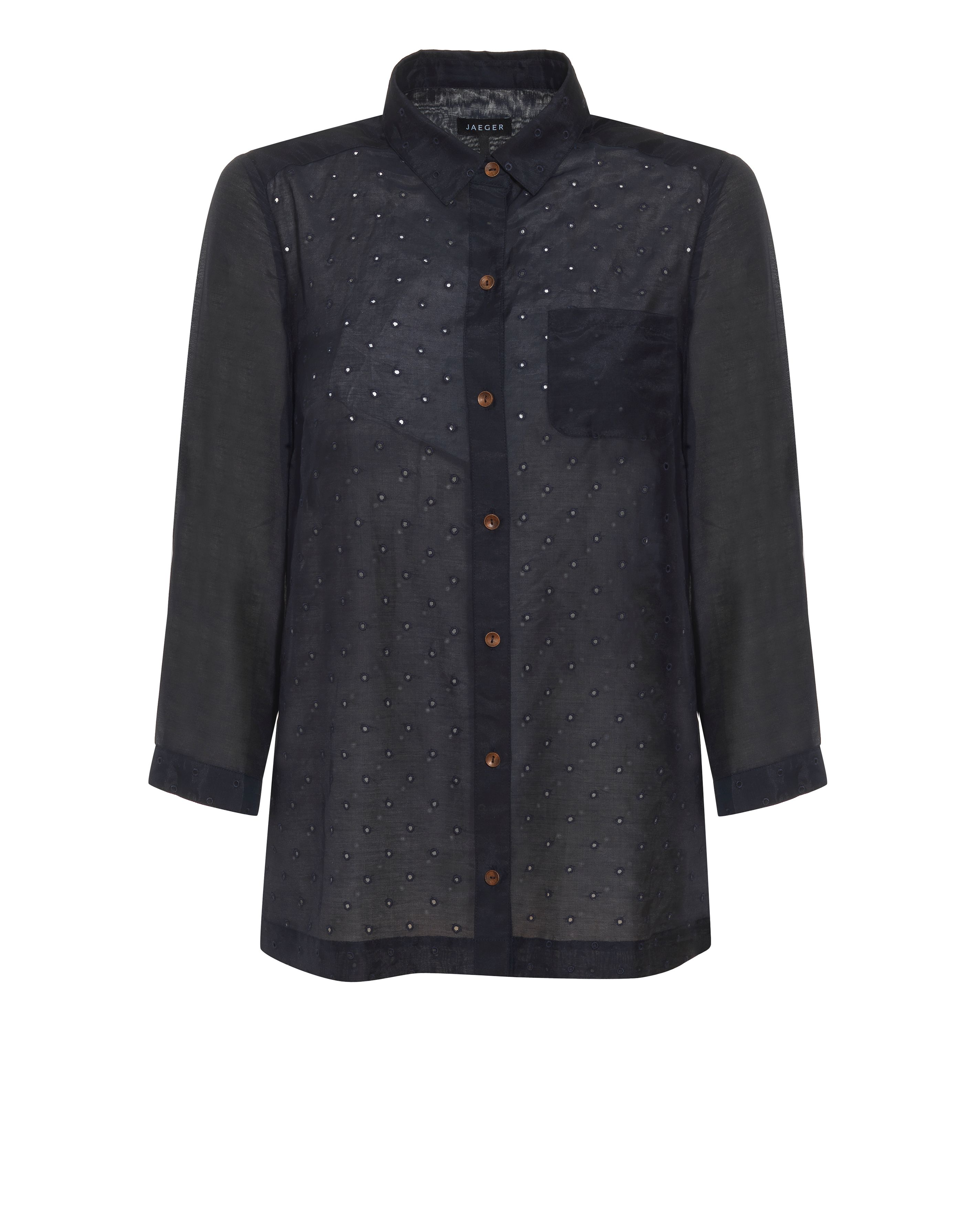 Jaeger Womens Jaeger Spot embroidered blouse, Navy product image