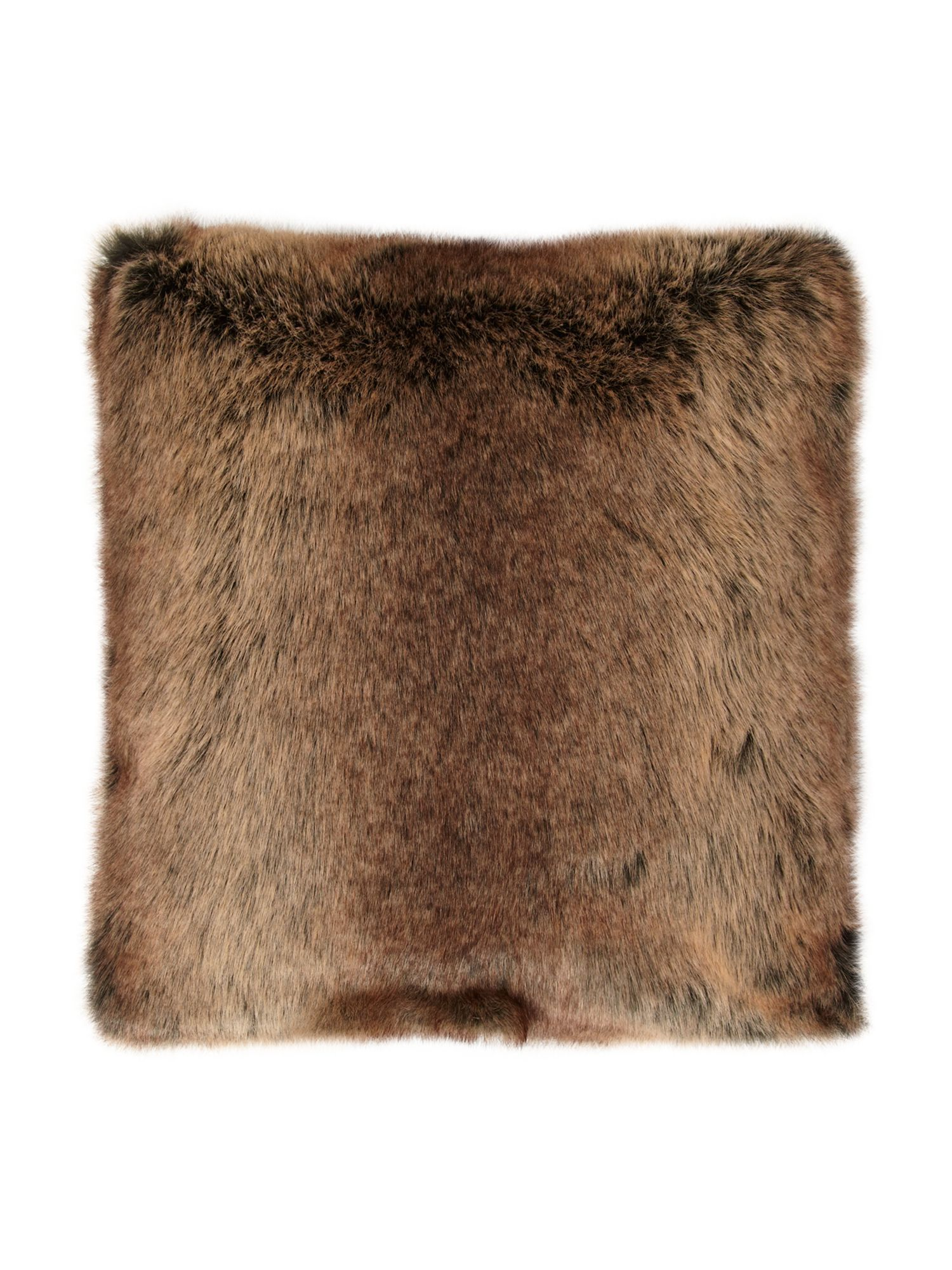 Chocolate faux fur cushion