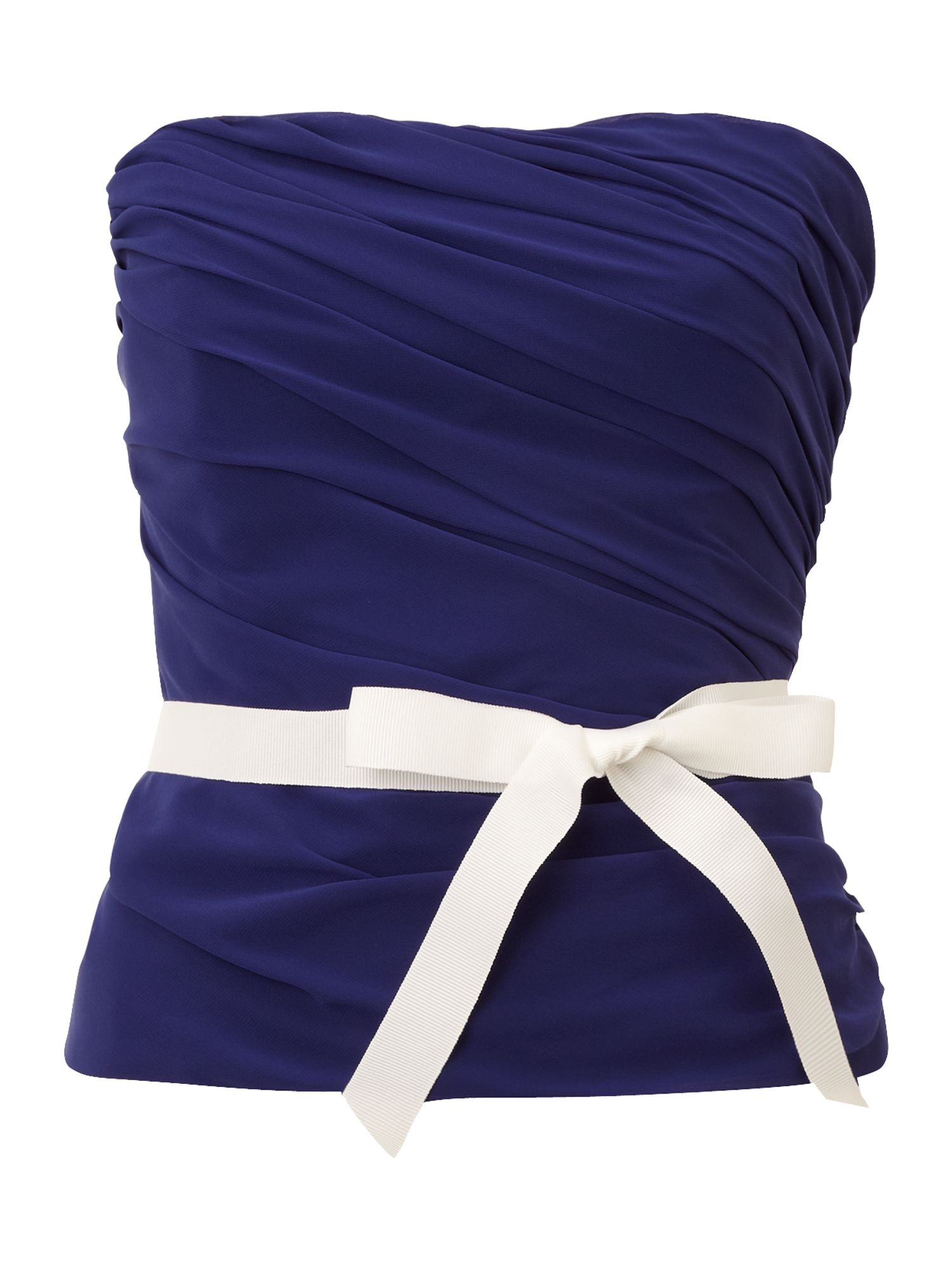 Bustier top with grosgrain tie