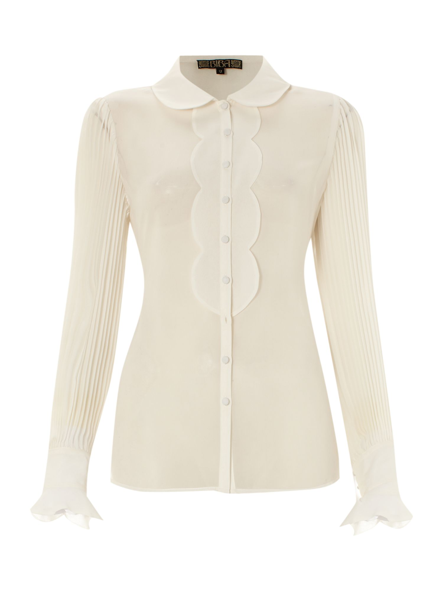 Womens Biba Pleat detail silk blouse, Ivory