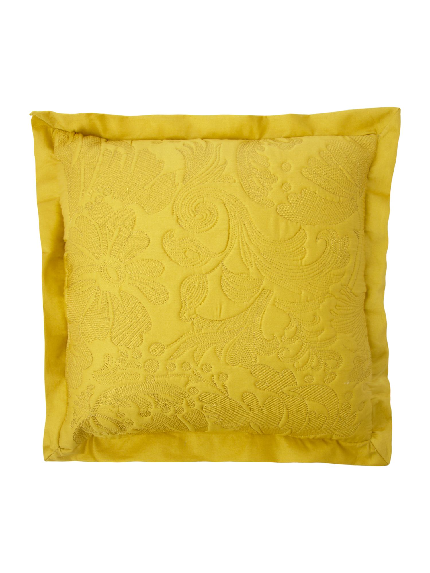 Quilted cotton cushion chartreuse