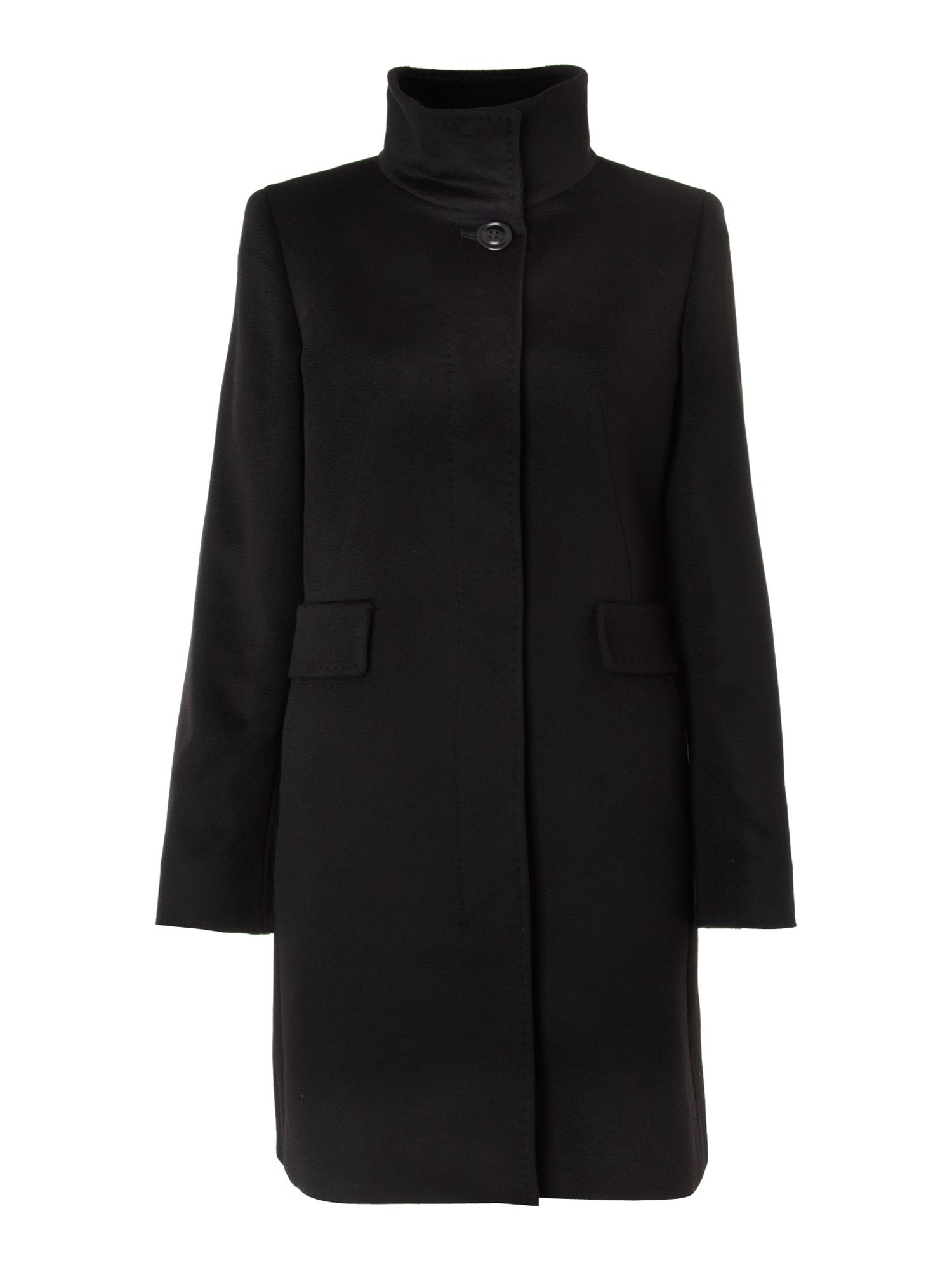 Women's MaxMara Studio Agnese funnel neck wool coat, Black