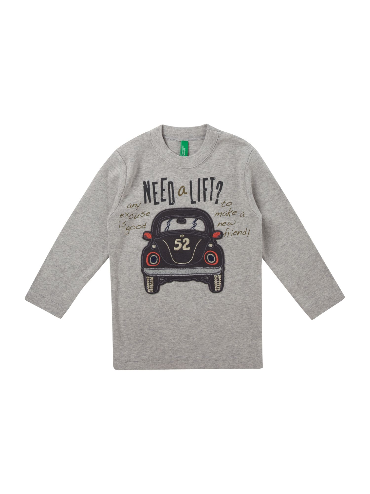 Benetton Long-sleeved car applique t-shirt, Grey product image