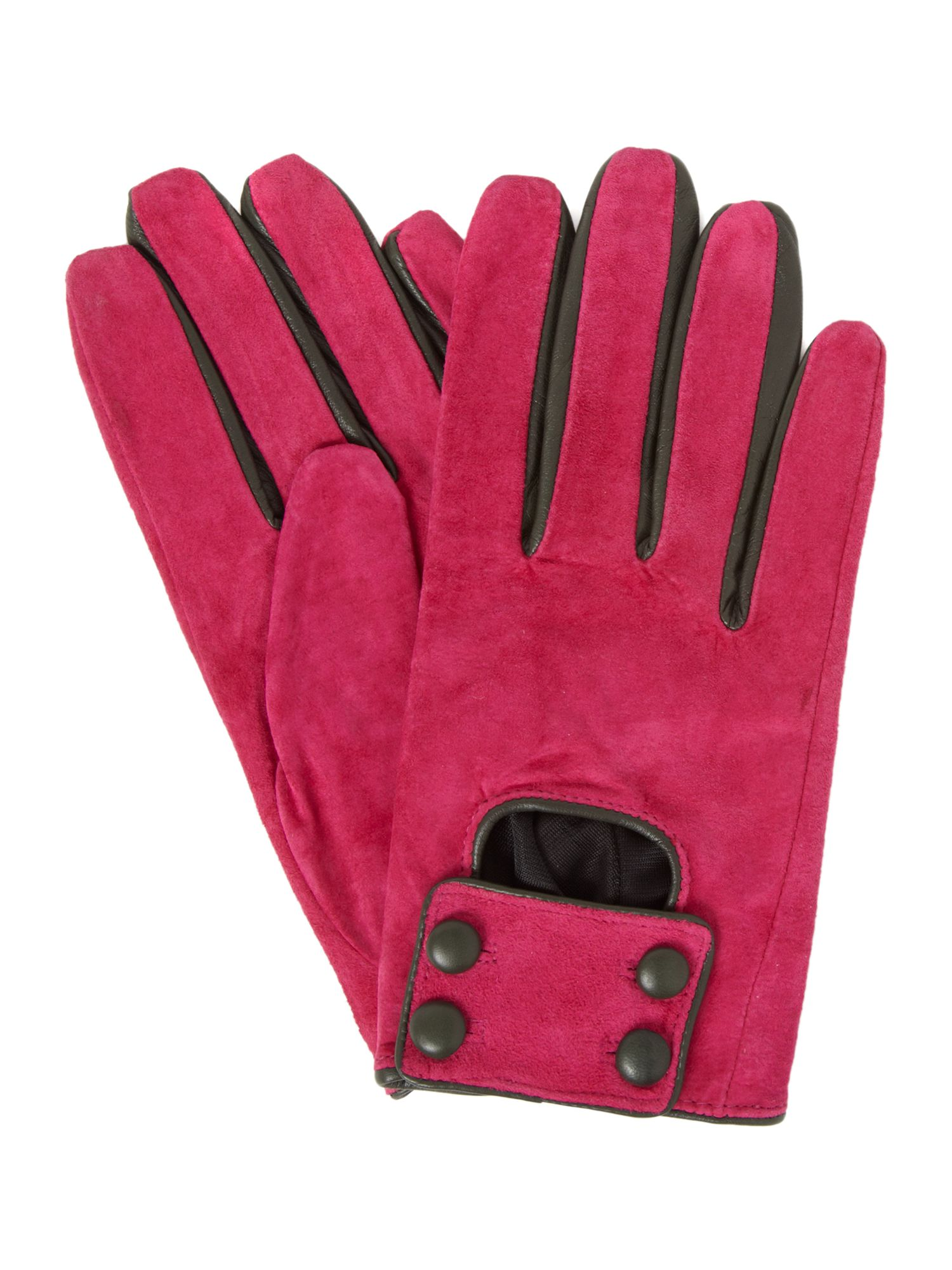 Suede glove with button detail