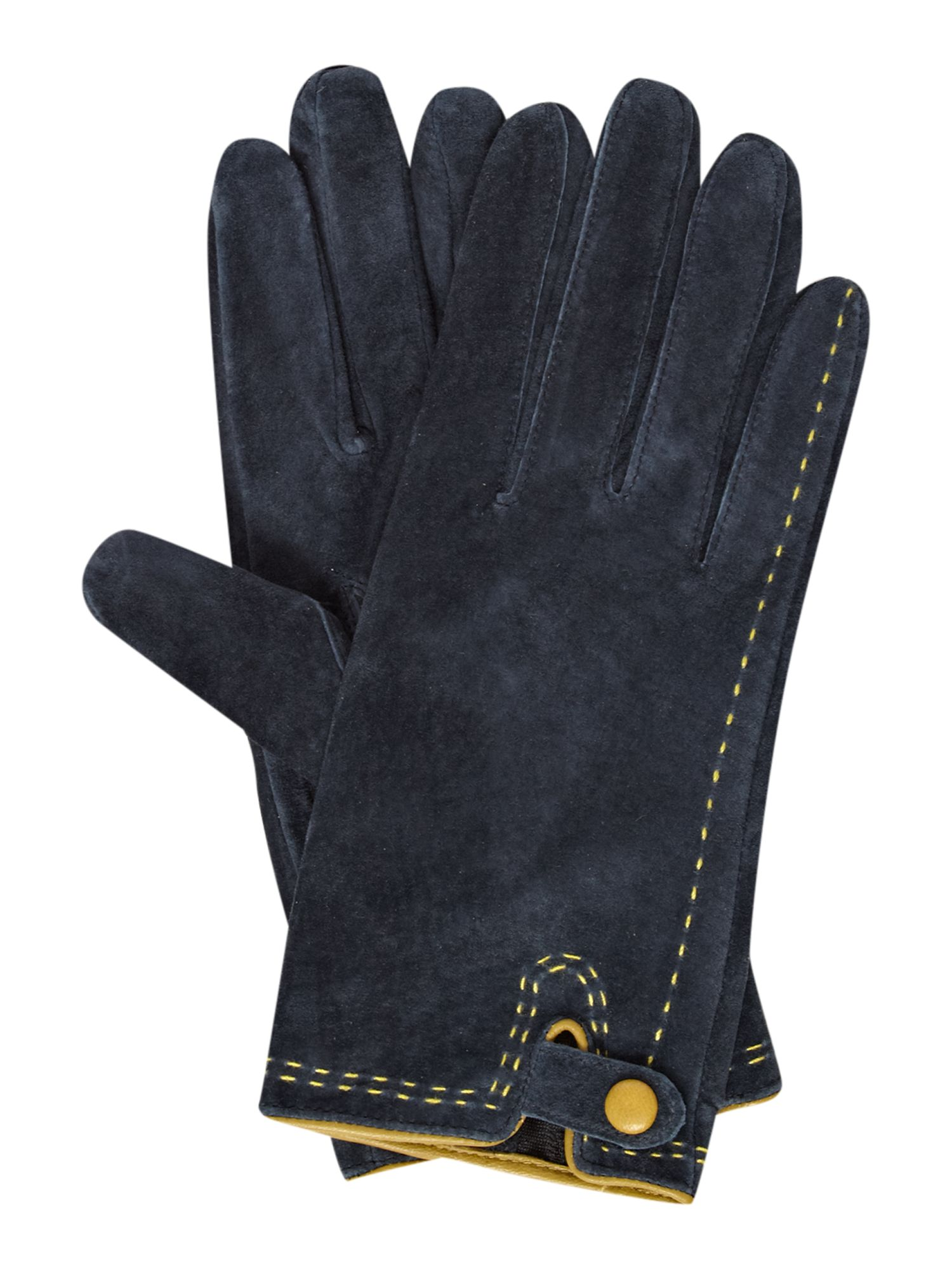 Contrast colour glove with one button detail