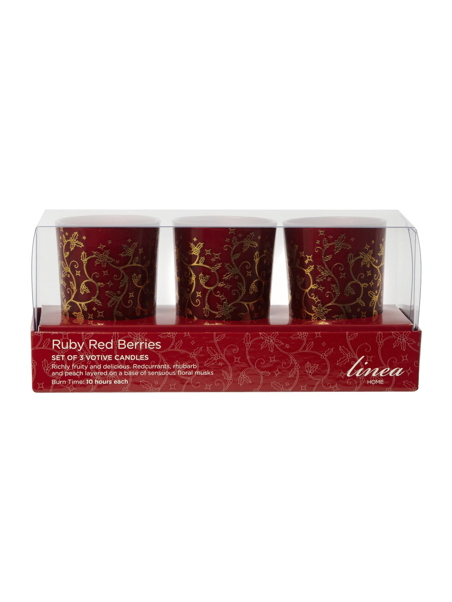 Ruby red berries set of 3 votives