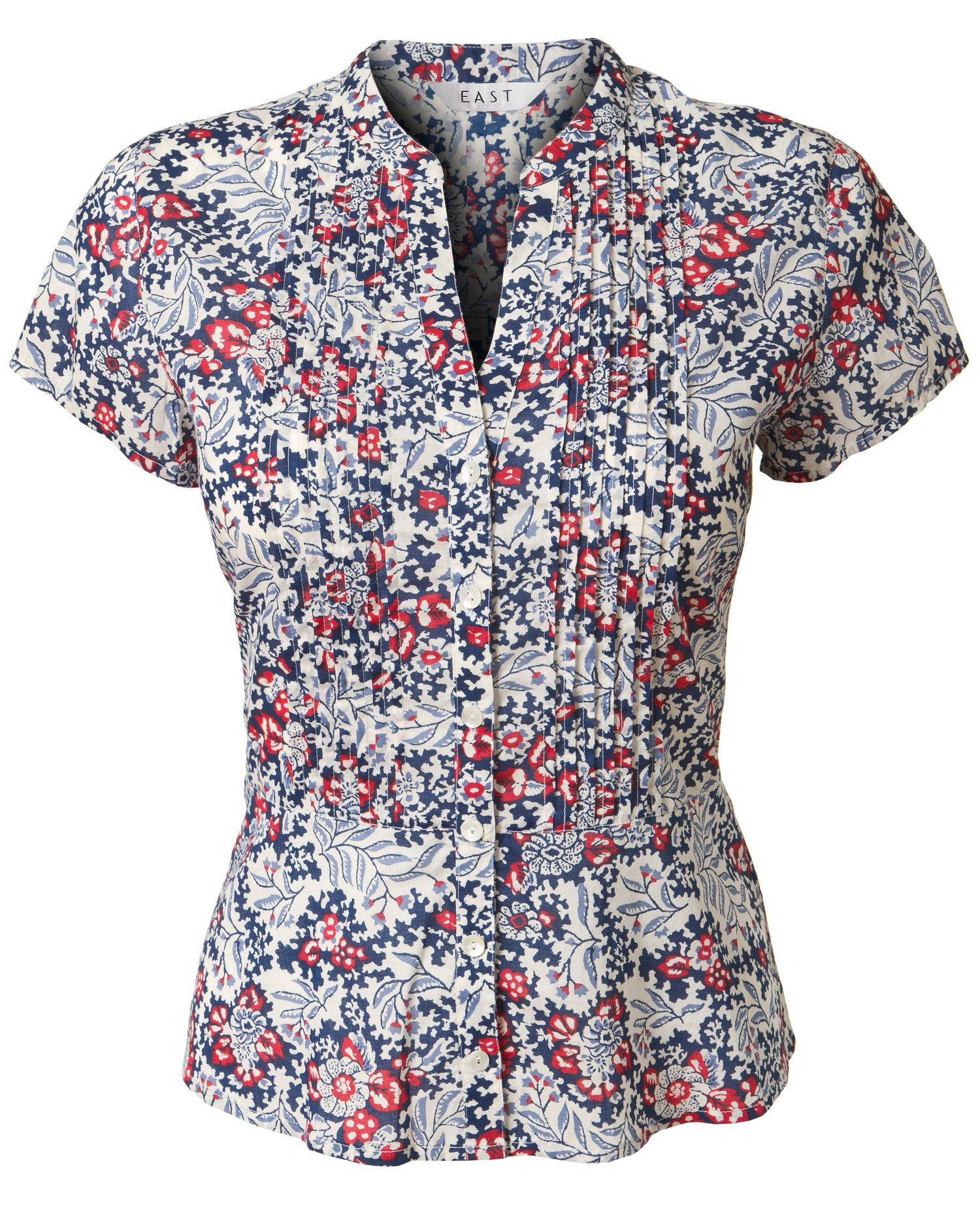 East Womens East Melita print blouse, Dark Blue product image
