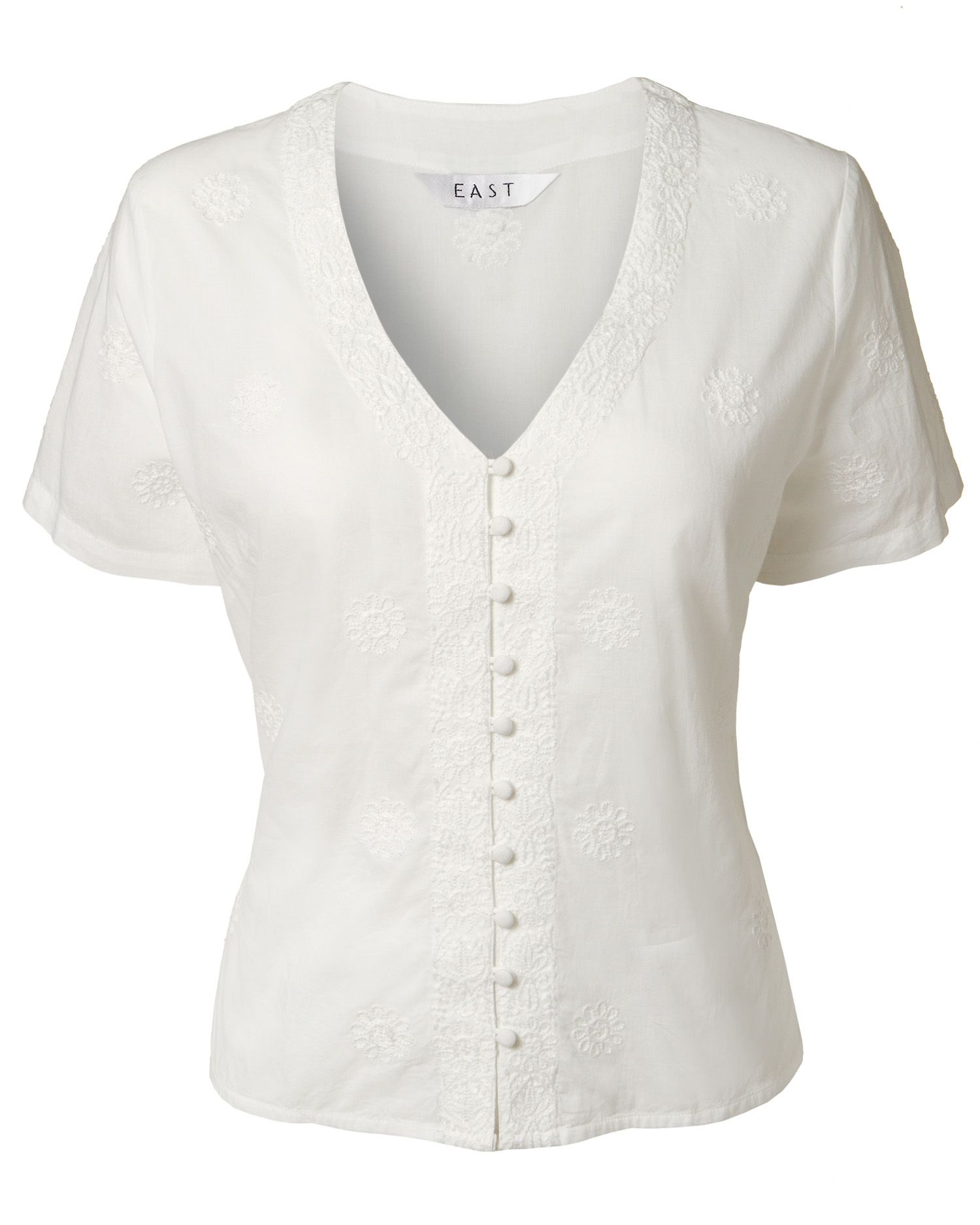 East Womens East Betty emb flower blouse, White product image