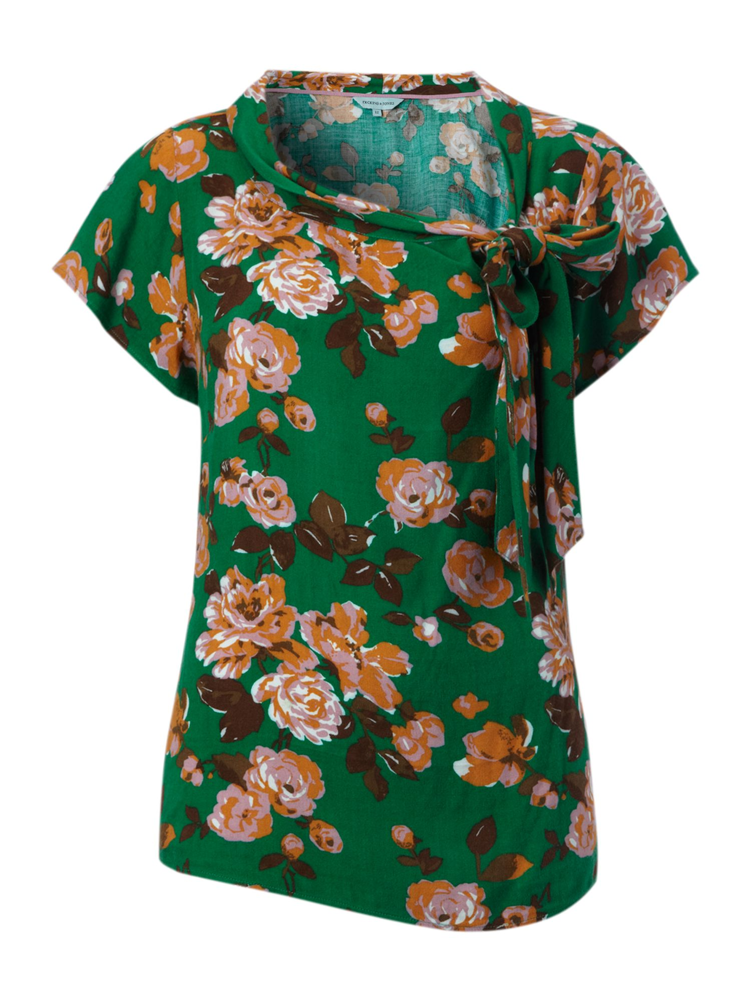 Ladies printed short sleeve blouse