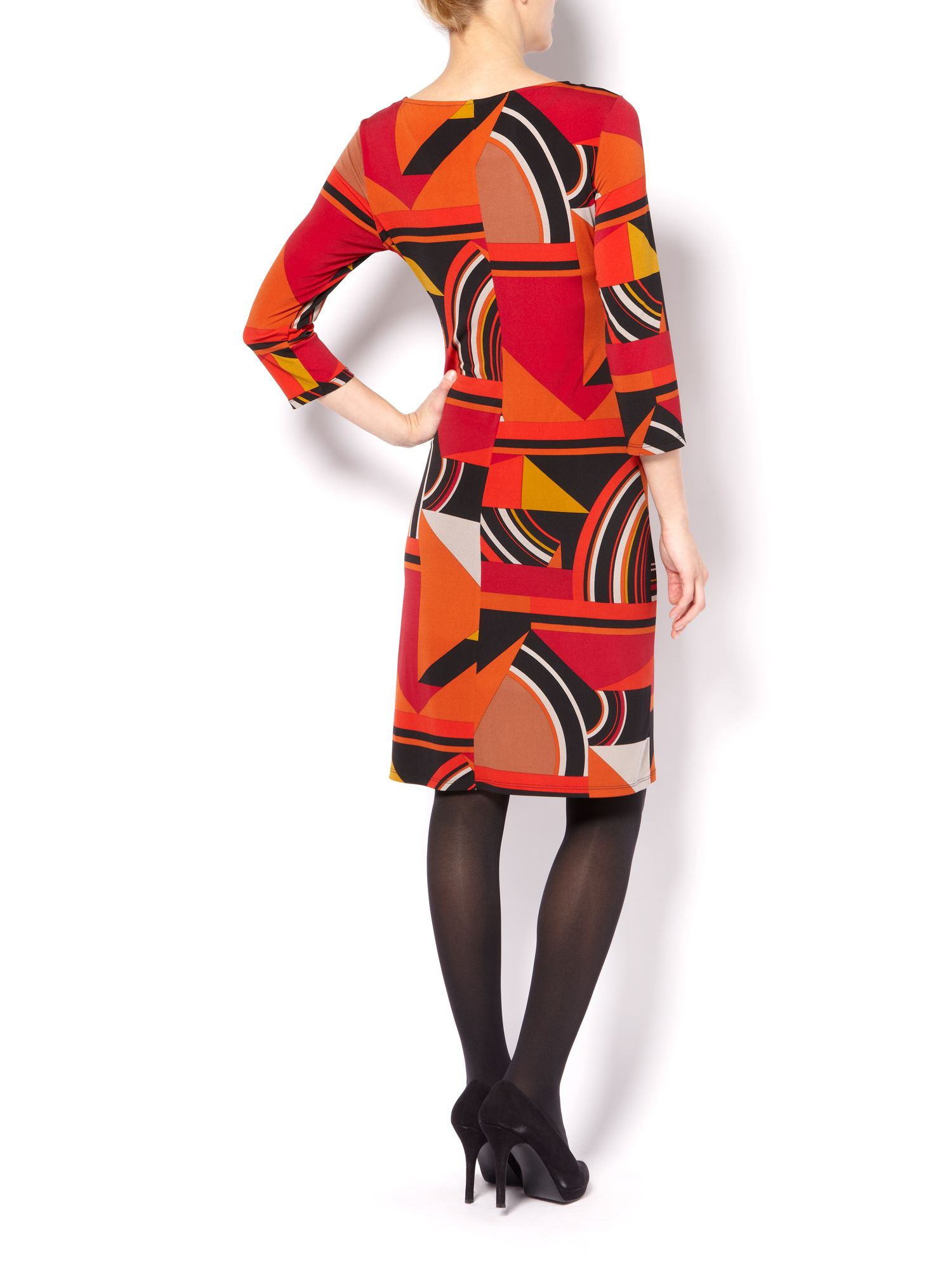 Deco print tunic dress