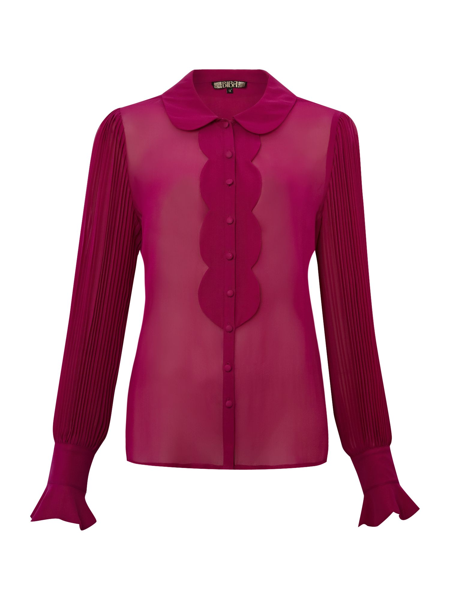 Pleat detail silk blouse