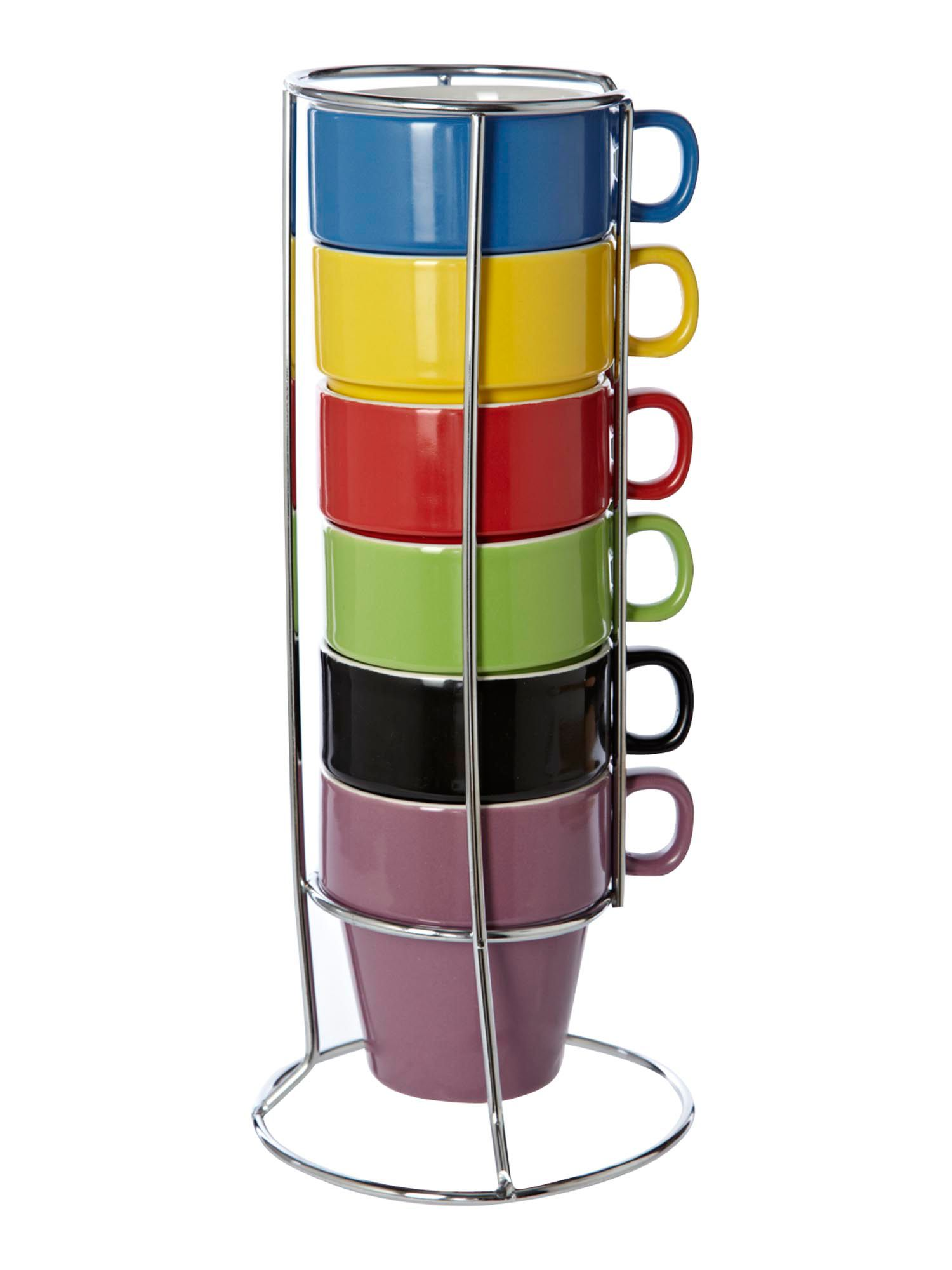 Block colour stack of 6 mugs