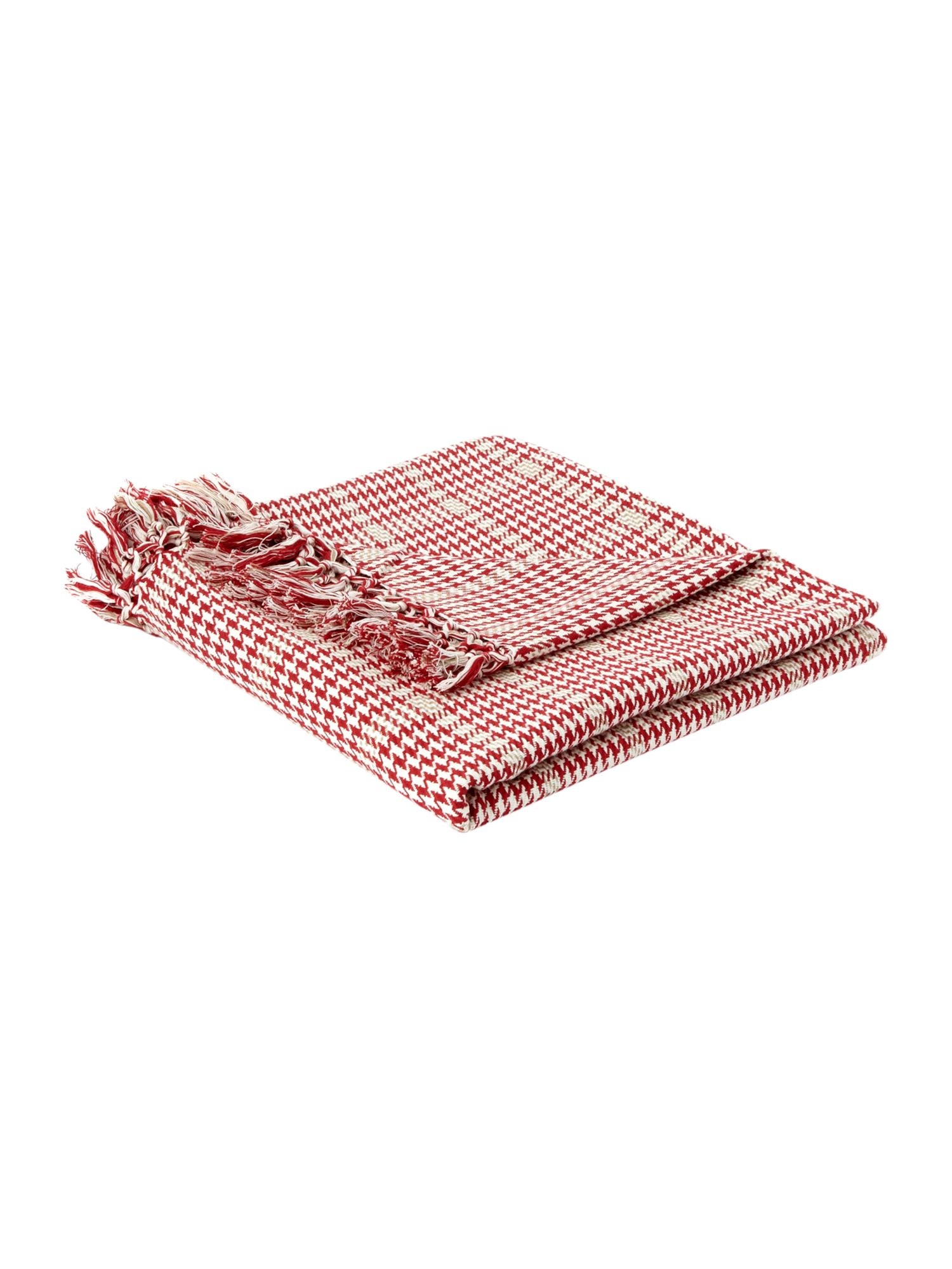 Cotton plaid throw red and cream