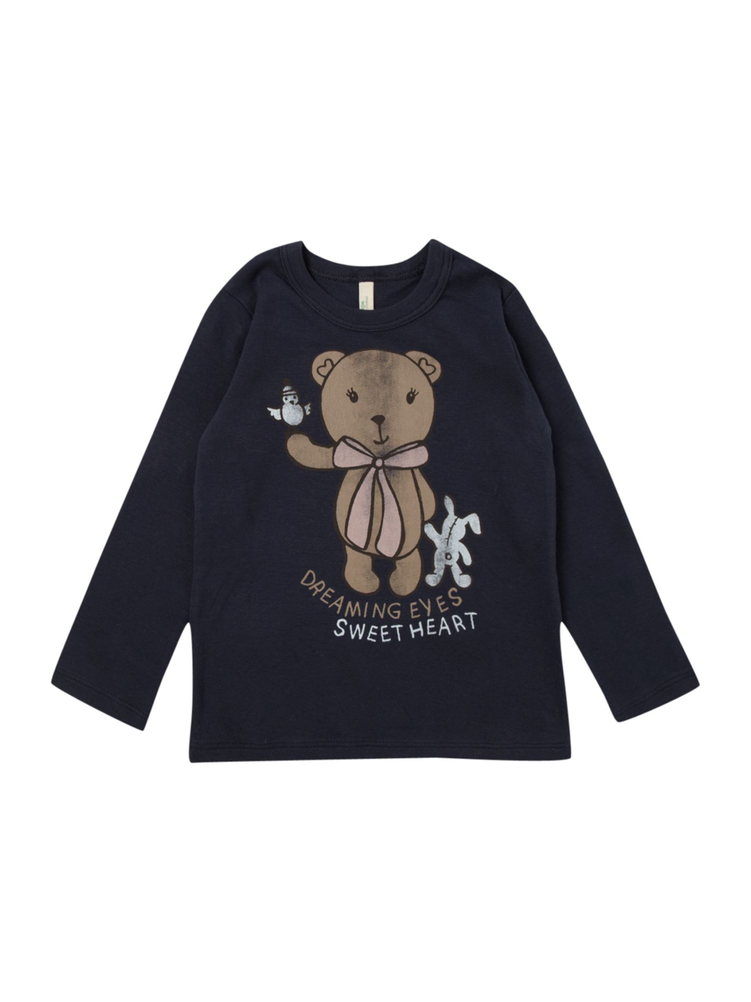 Benetton Long-sleeved teddy print t-shirt, Navy product image
